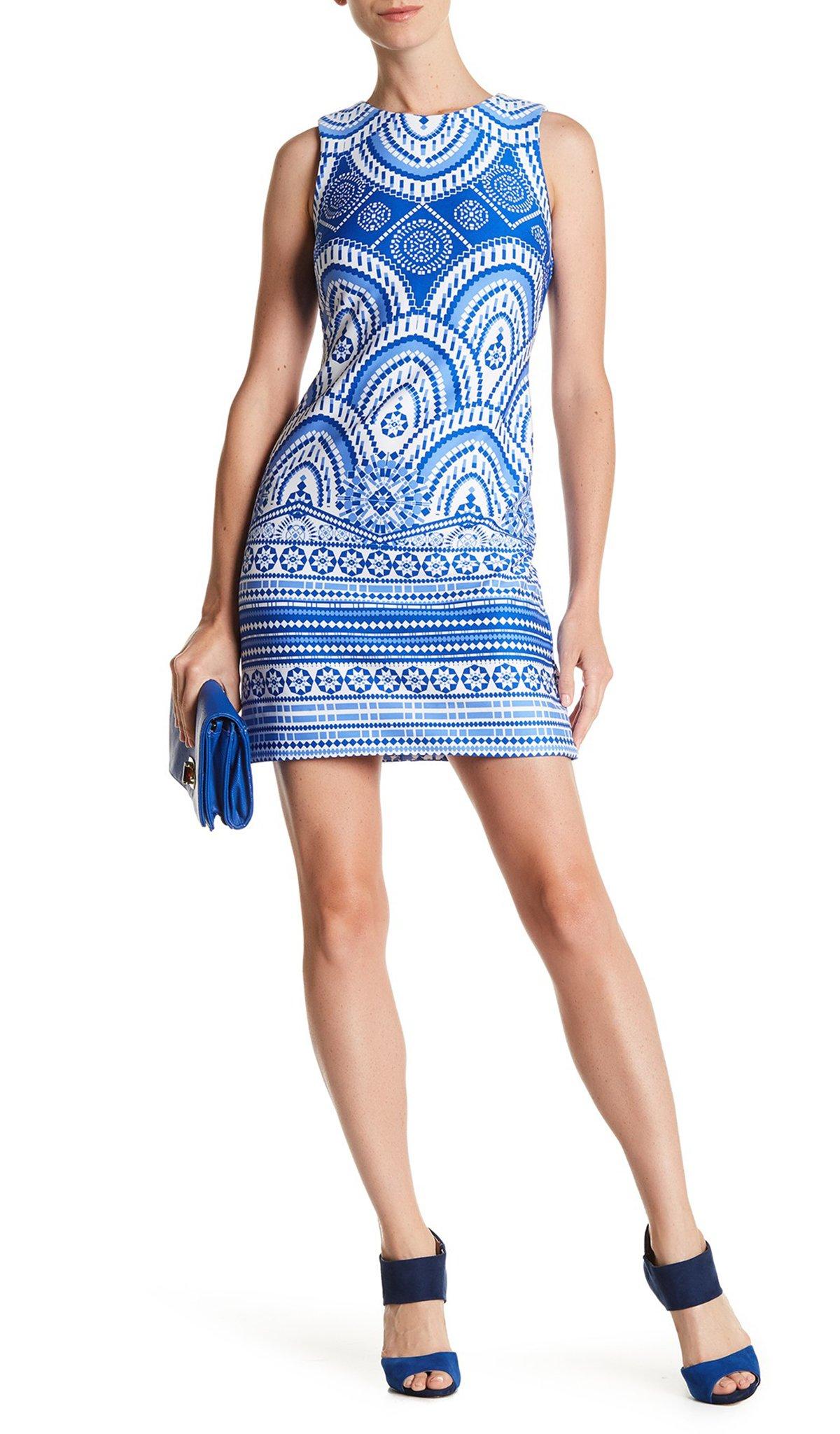 Taylor - 8167MJ Printed Jewel Cocktail Dress