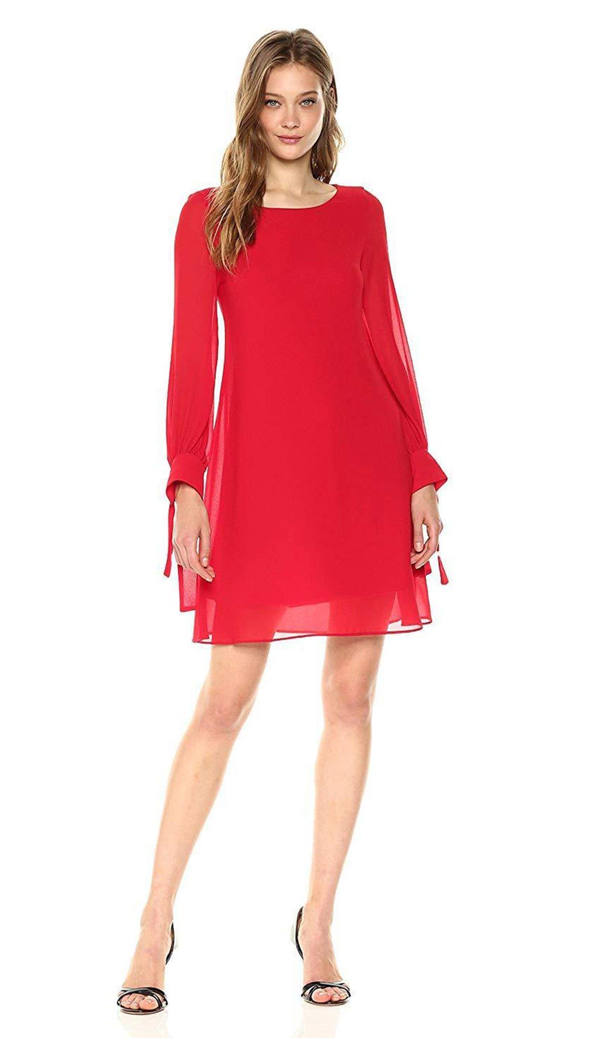 Taylor - 9146M Long Sleeve Scoop Neck A-line Dress
