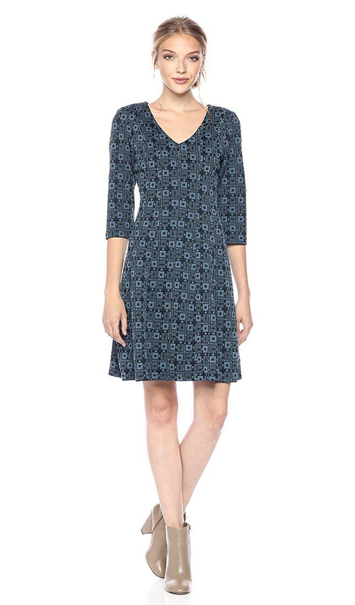 Taylor - 9209M V Neck Jacquard Quarter Length Sleeve Short Dress