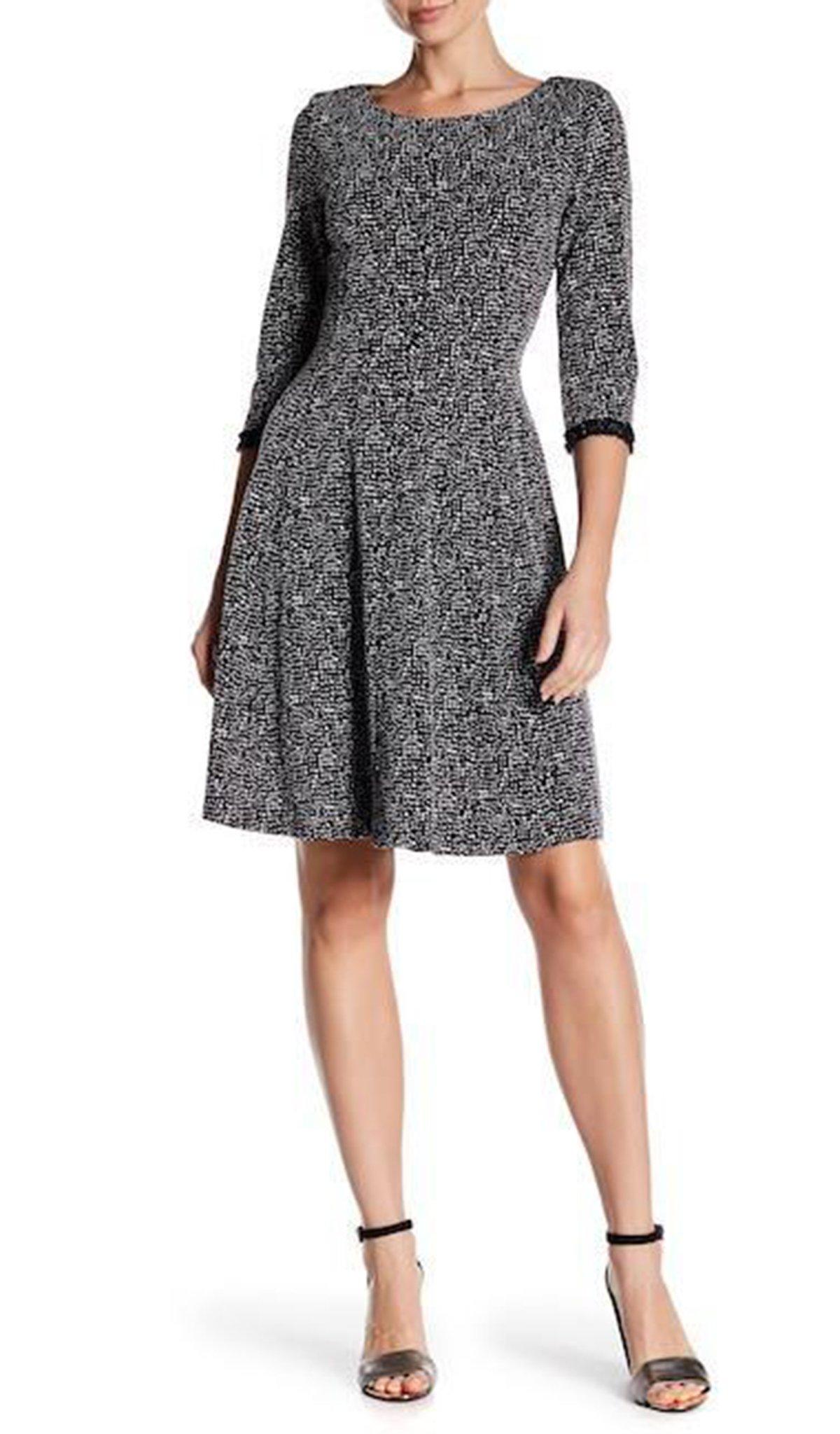 Taylor - 9246M Quarter Length Sleeve Bateau A-line Dress