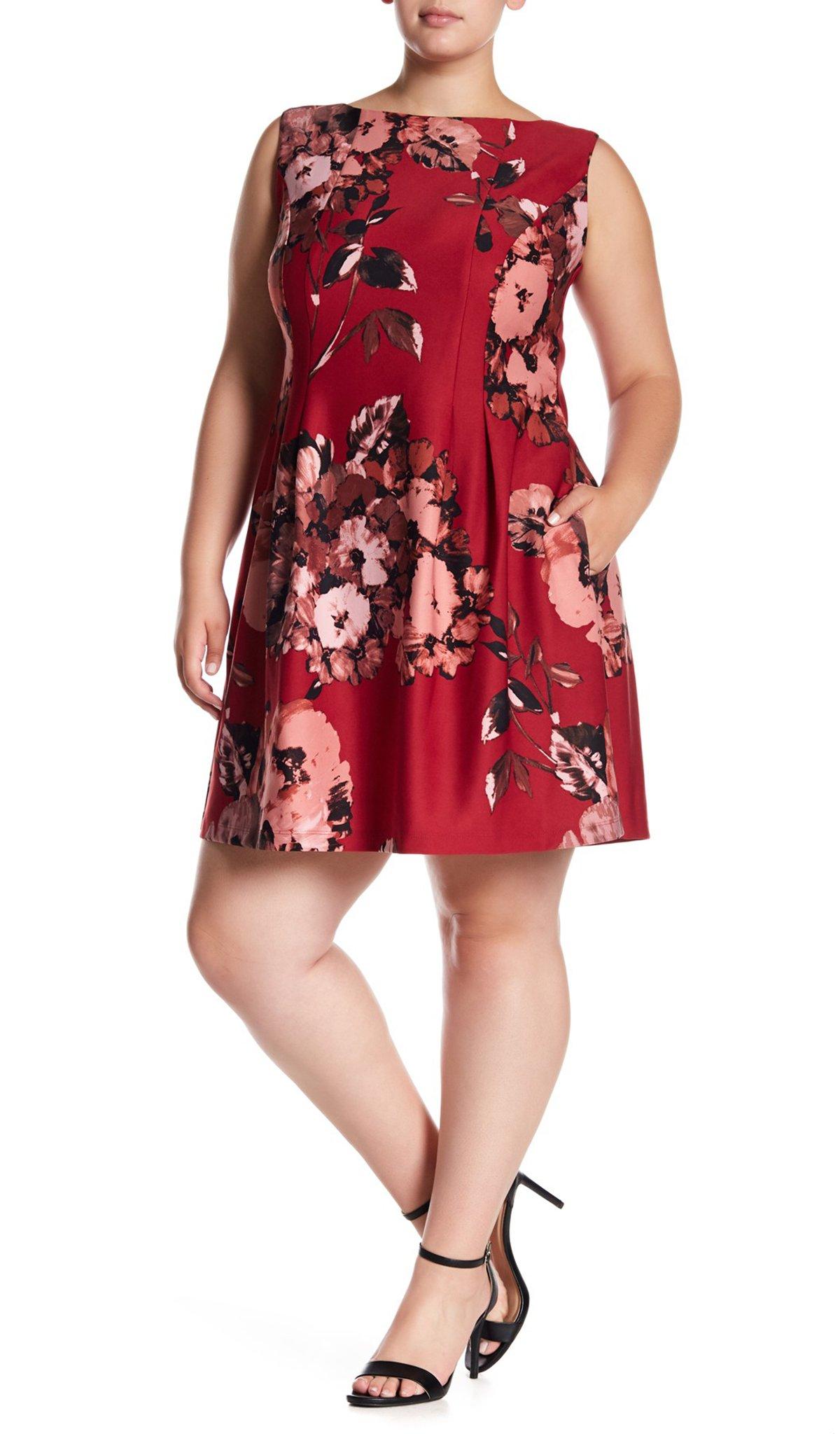 Taylor - 9441L Floral Print A-line Dress