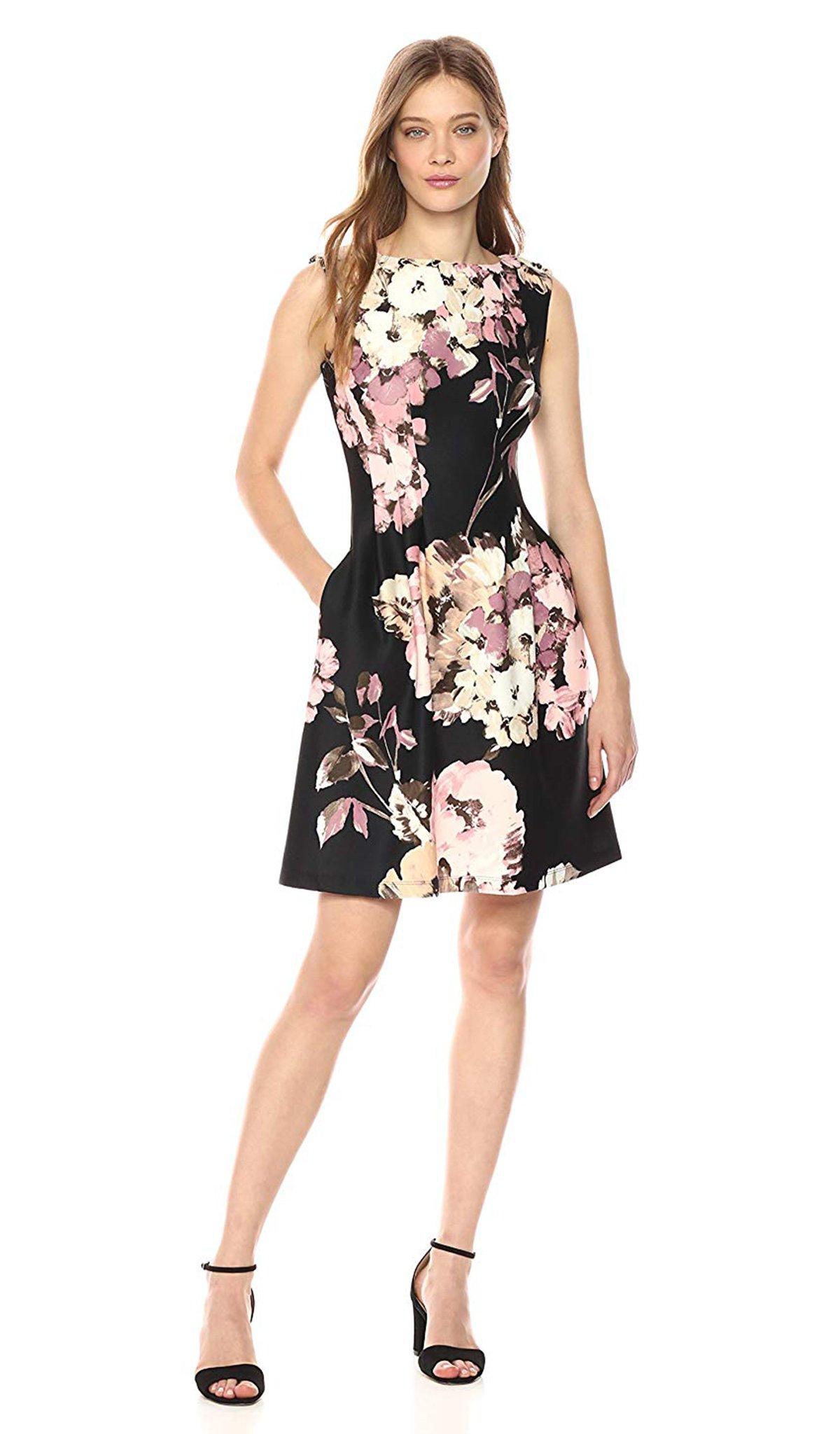 Taylor - 9441M Floral Print Bateau Scuba A-line Dress