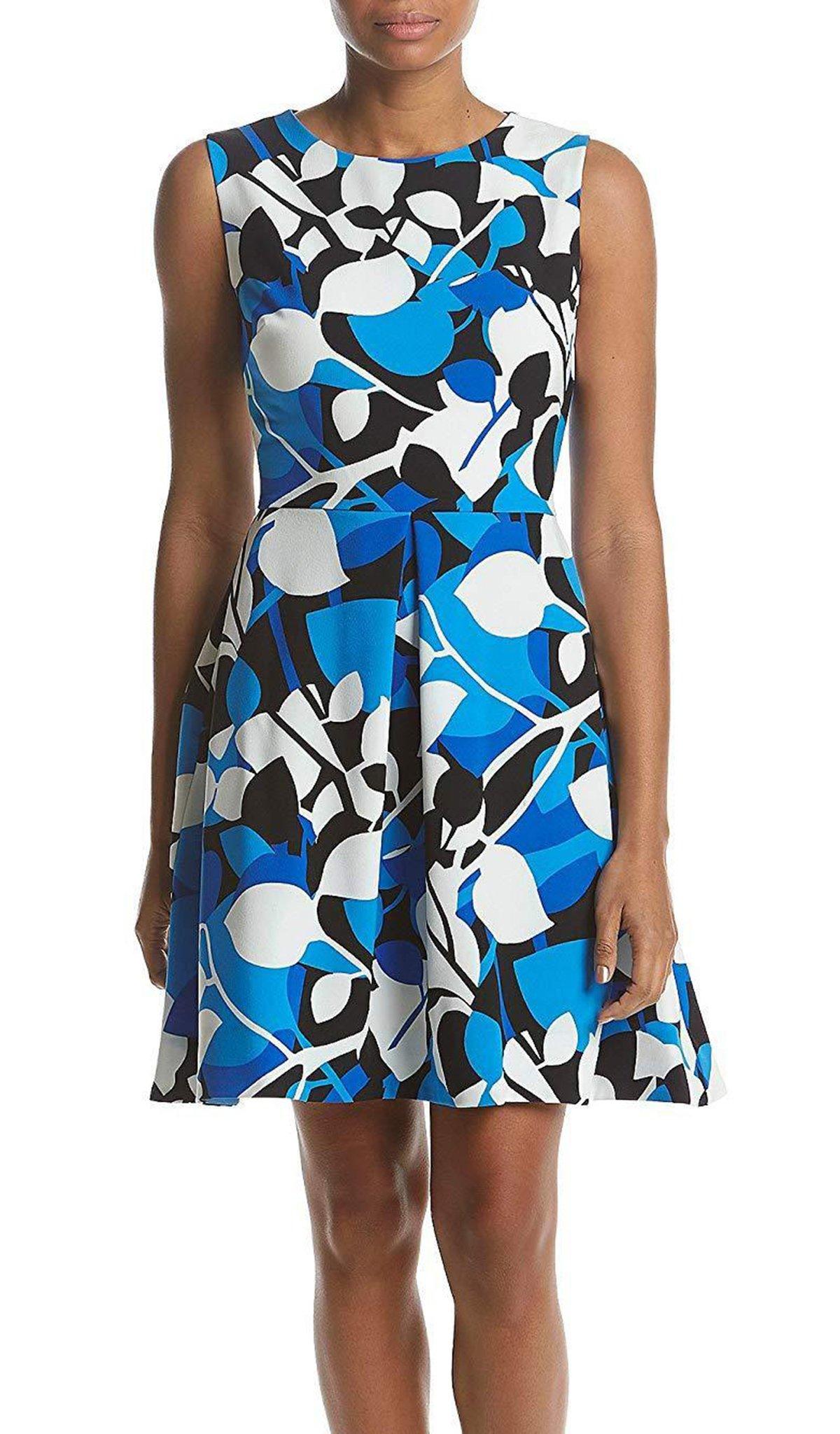 Taylor - 9612MJ Printed Jewel Neck Pleated A-line Dress