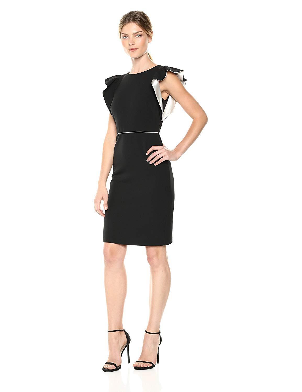 Taylor - 9794M Knee Length Flutter Sleeve Sheath Dress