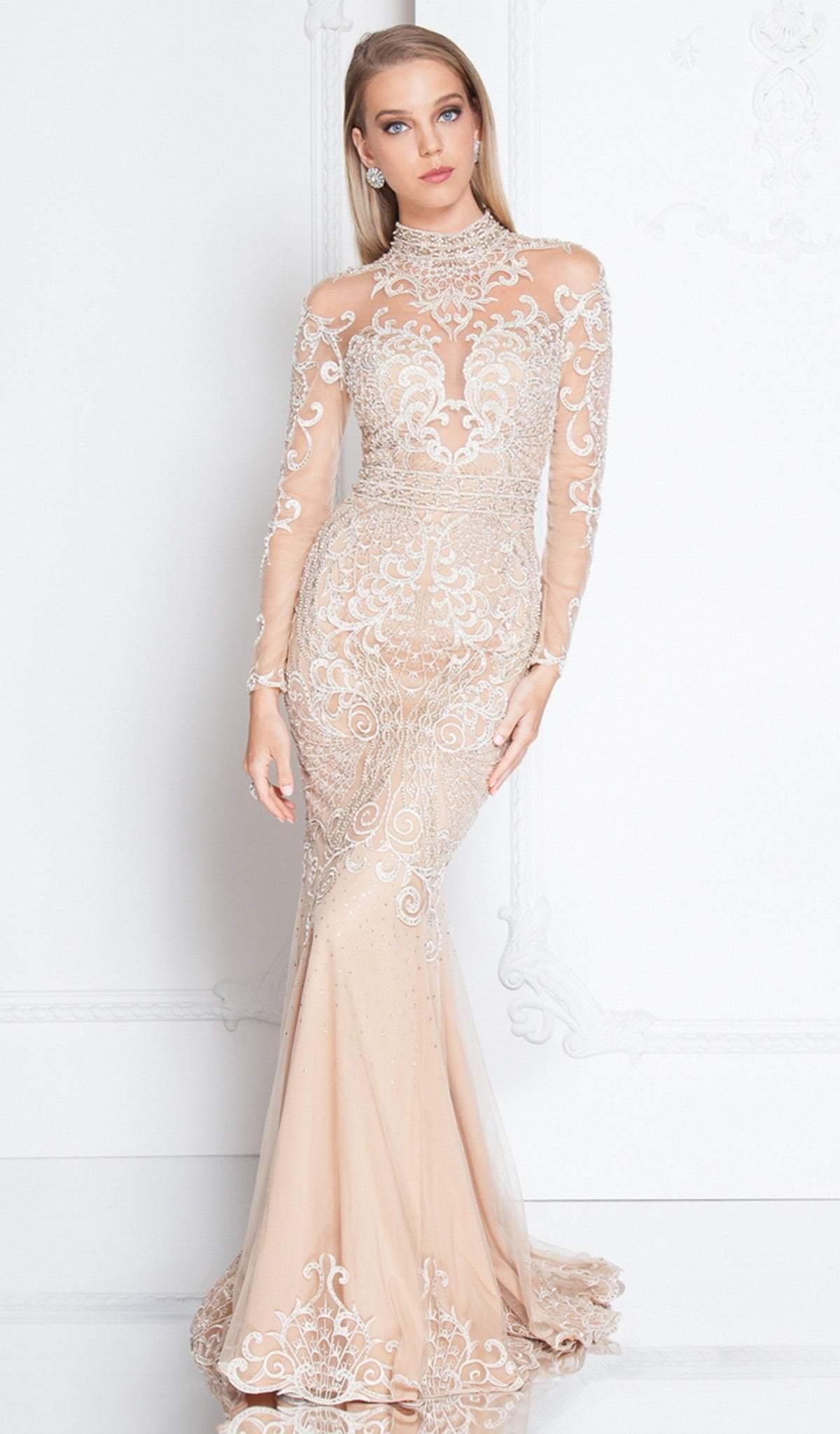 Terani Couture - 1811GL6451X Applique Long Sleeve High Trumpet Dress