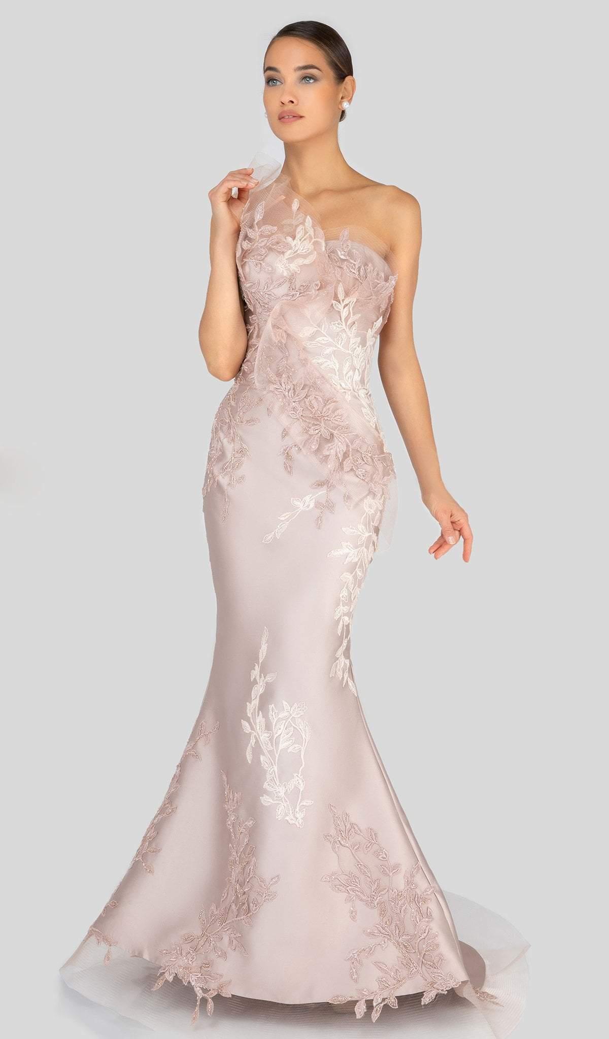 Terani Couture - 1911E9095 Embroidered Asymmetric Neck Mermaid Gown