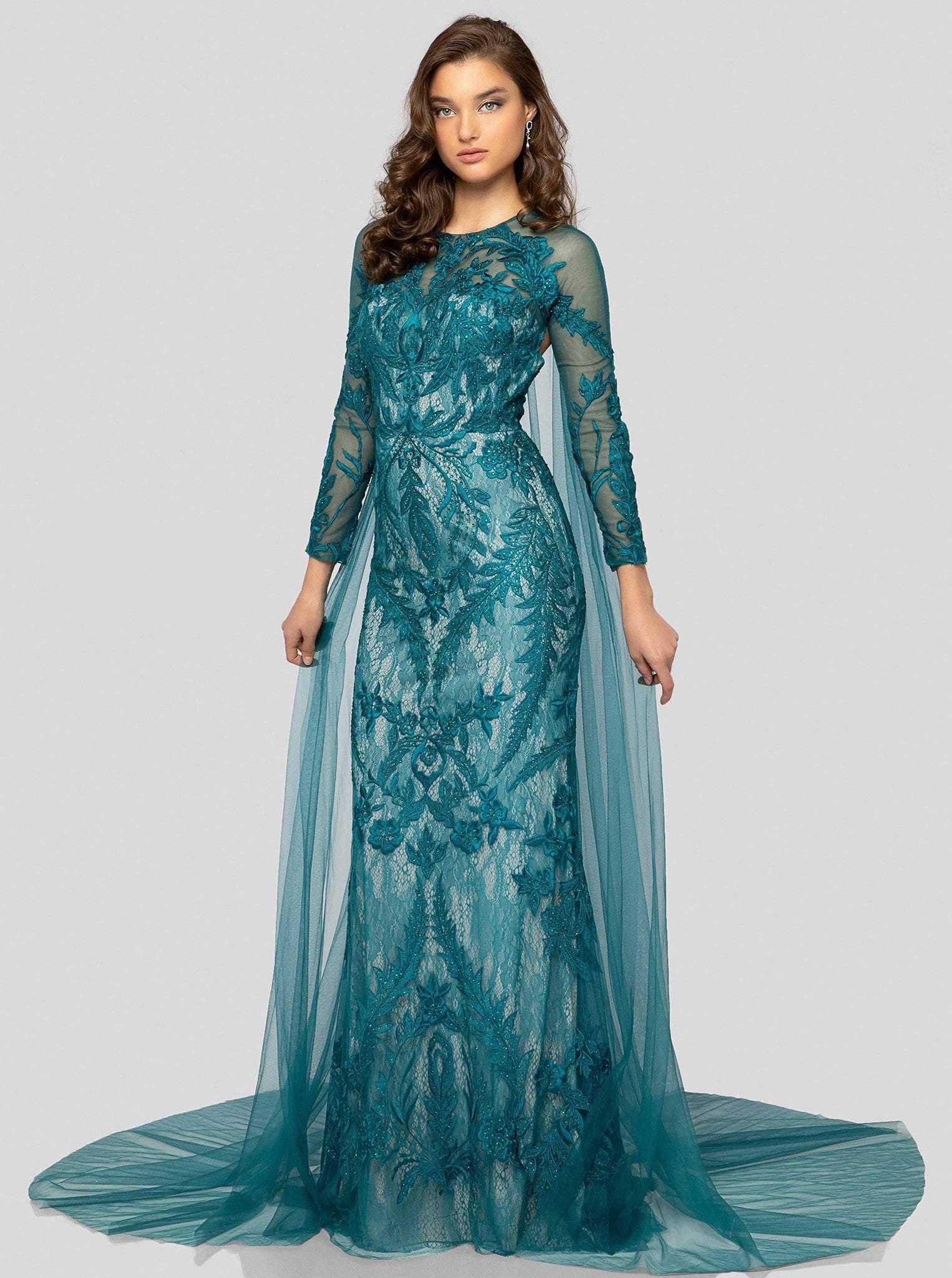 Terani Couture - 1911GL9468 Leafy Embroidered Sheath Evening Dress