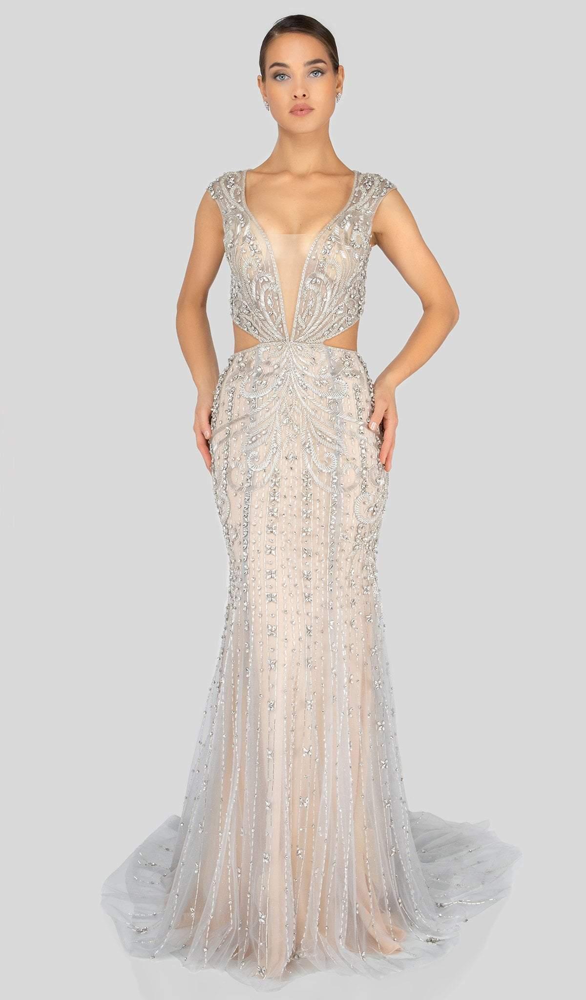 Terani Couture - 1911GL9500 Bead Embellished Cutouts Sheath Gown