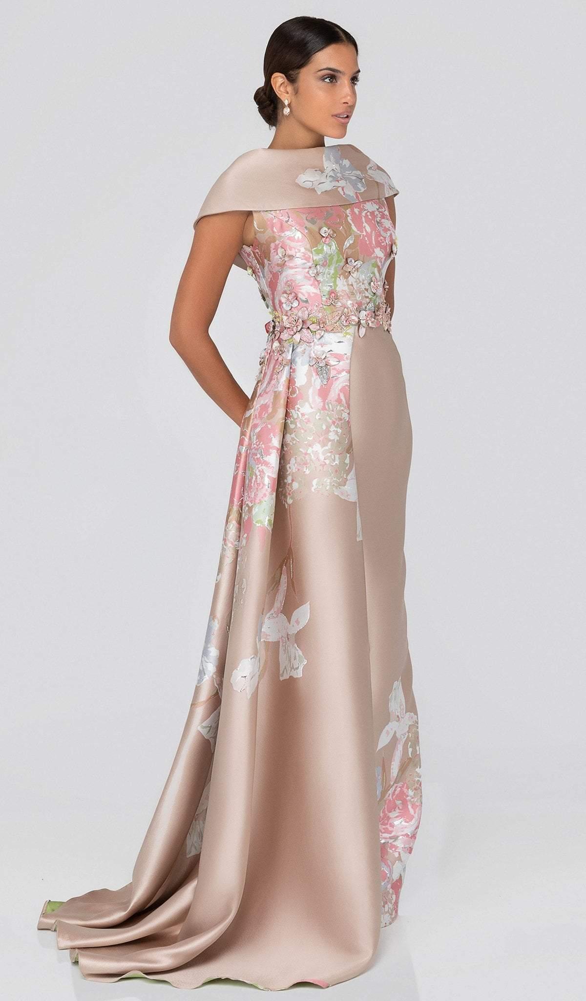 Terani Couture - 1911M9315 Floral Appliqued Cowl Evening Gown