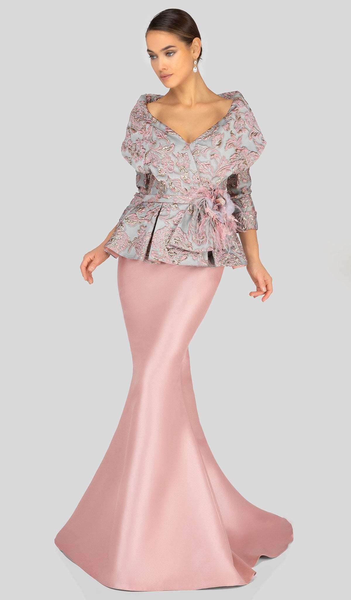 Terani Couture - 1911M9322 Embossed V-Neck Peplum Mermaid Gown