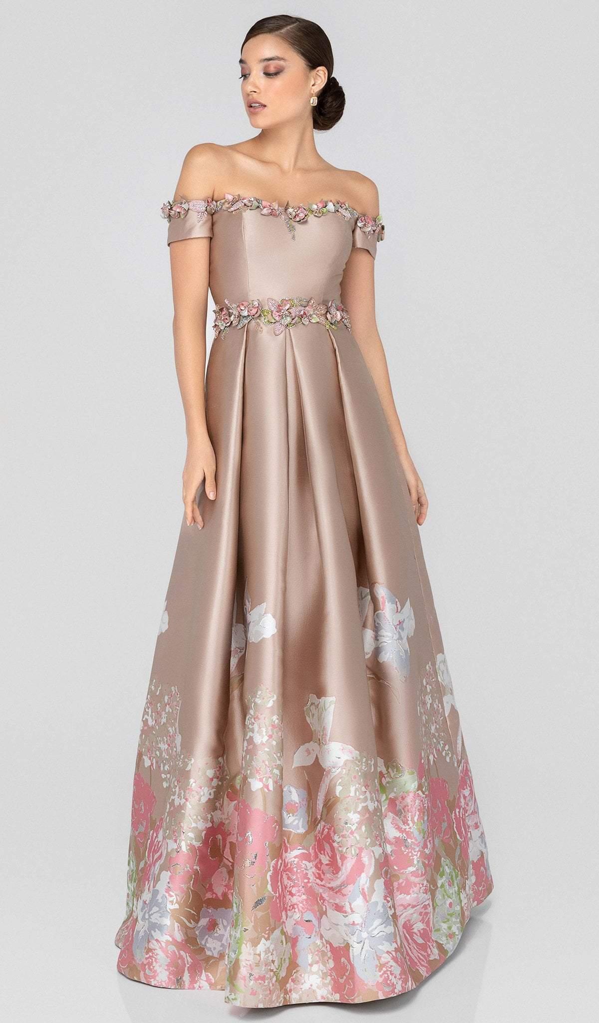 Terani Couture - 1911M9661 Floral Appliqued Off-Shoulder A-Line Gown
