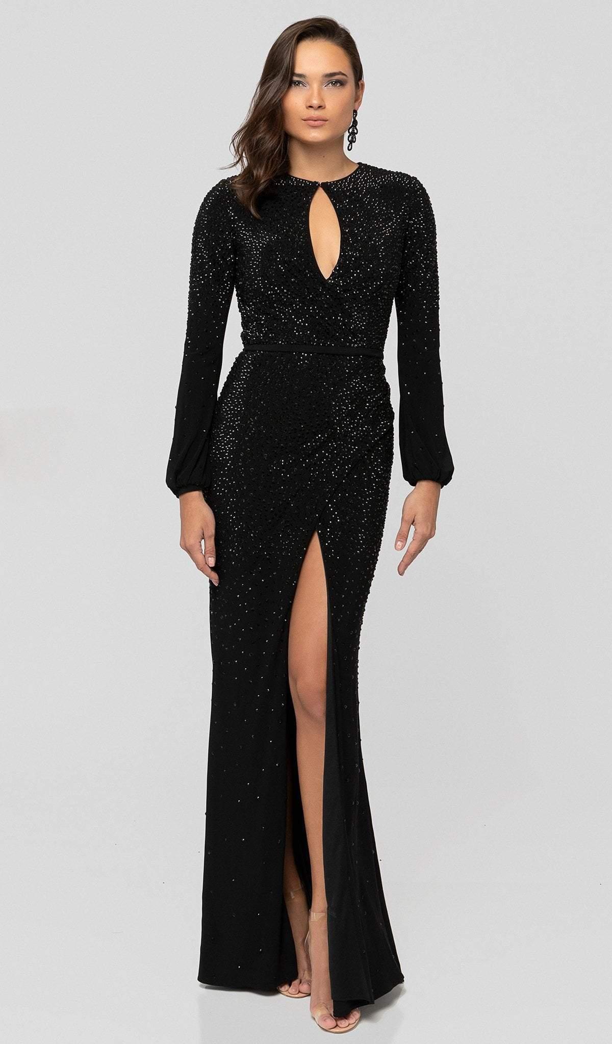 Terani Couture - 1912E9162 Long Sleeve Keyhole Cutout Beaded Gown
