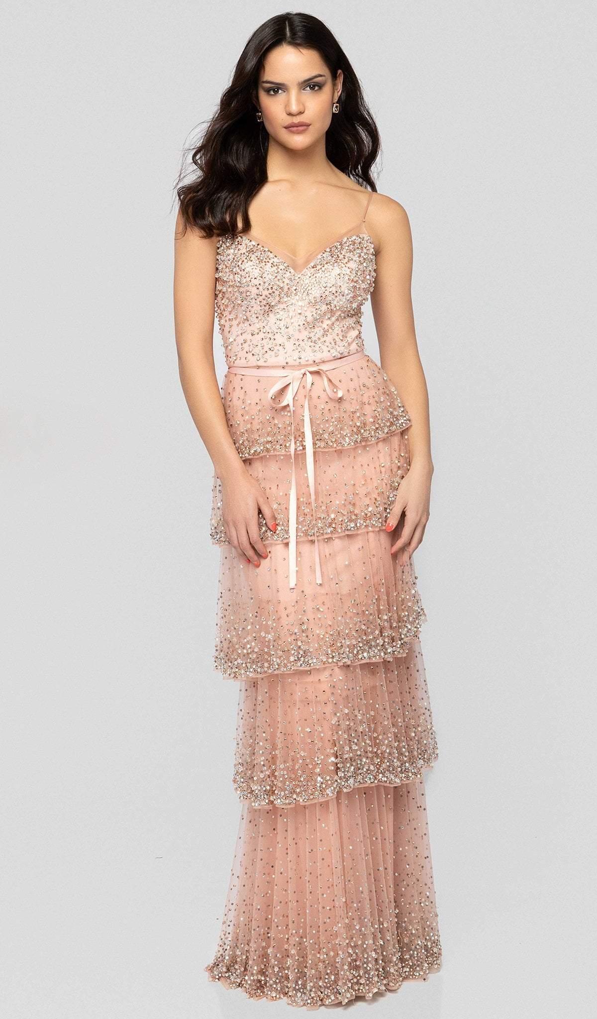 Terani Couture - 1912GL9560 Embellished V-neck Tiered Sheath Dress