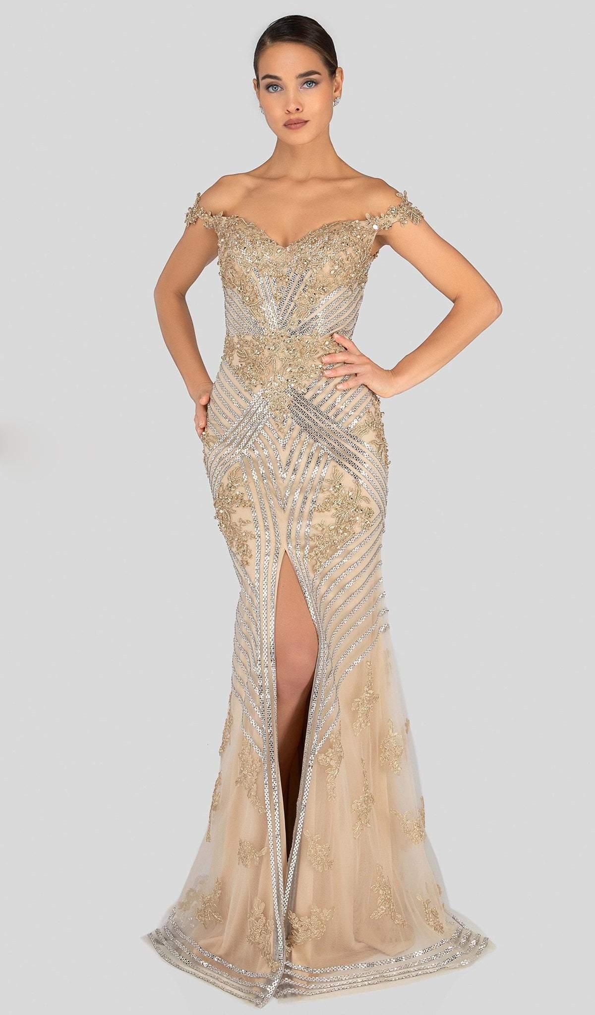 Terani Couture - 1912GL9572 Sparkling Off Shoulder Slit Evening Gown
