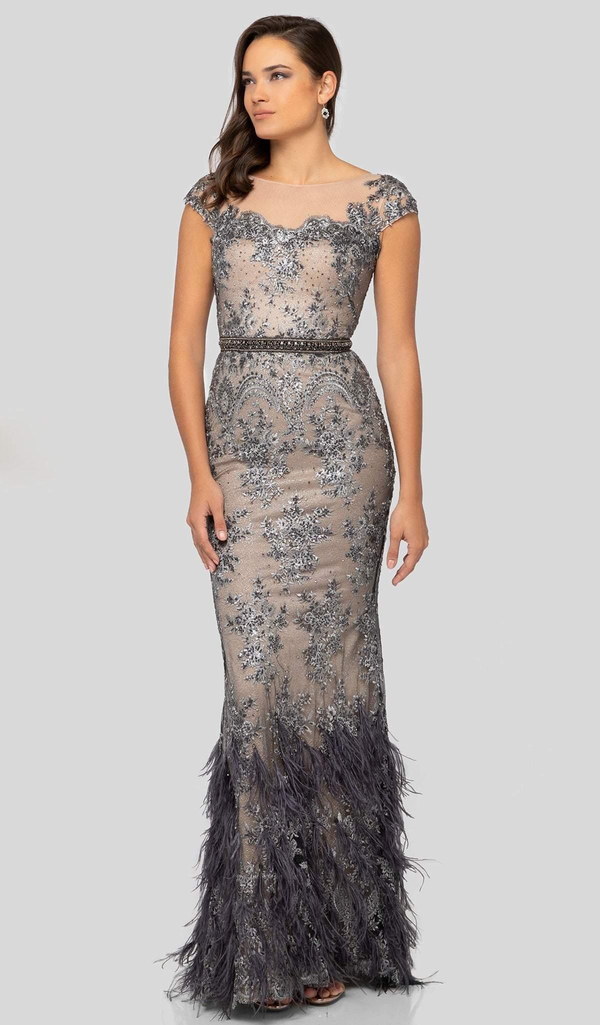 Terani Couture - 1913E9250 Embellished Illusion Bateau Feathered Dress