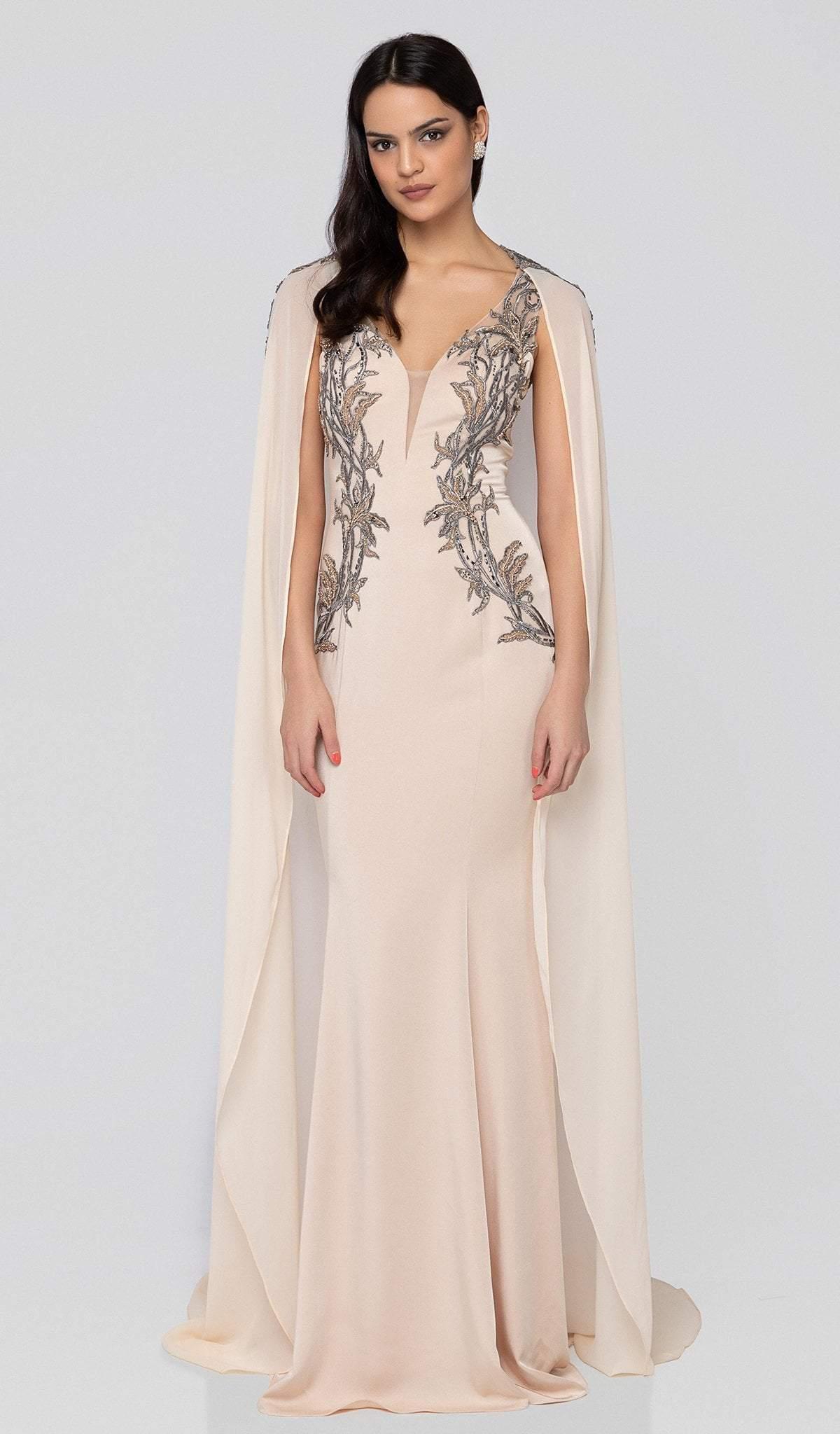 Terani Couture - 1913E9283 Embellished Deep V-neck Trumpet Dress