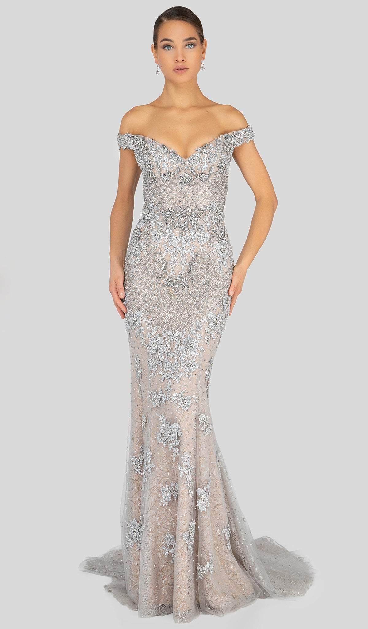Terani Couture - 1913GL9586 Embellished Off-Shoulder Trumpet Dress