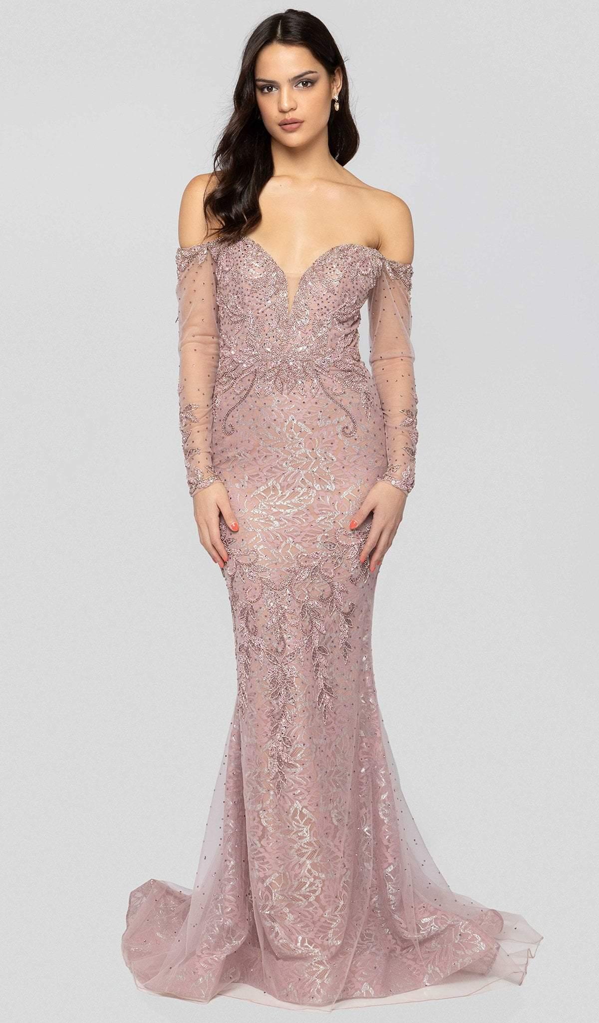 Terani Couture - 1913GL9587 Embellished Plunging Off-Shoulder Dress