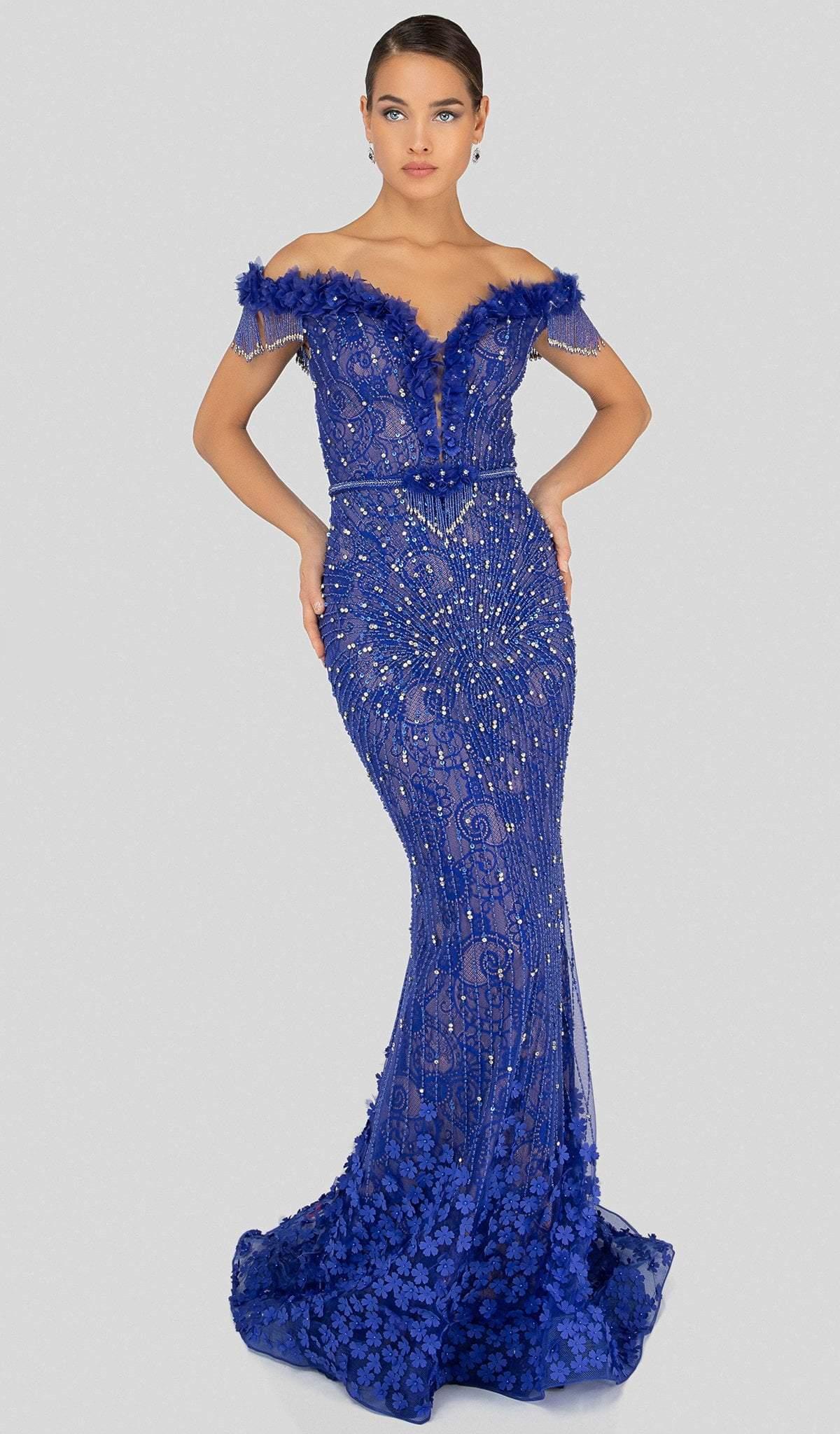 Terani Couture - 1913GL9588 Floral Applique Off-Shoulder Trumpet Dress