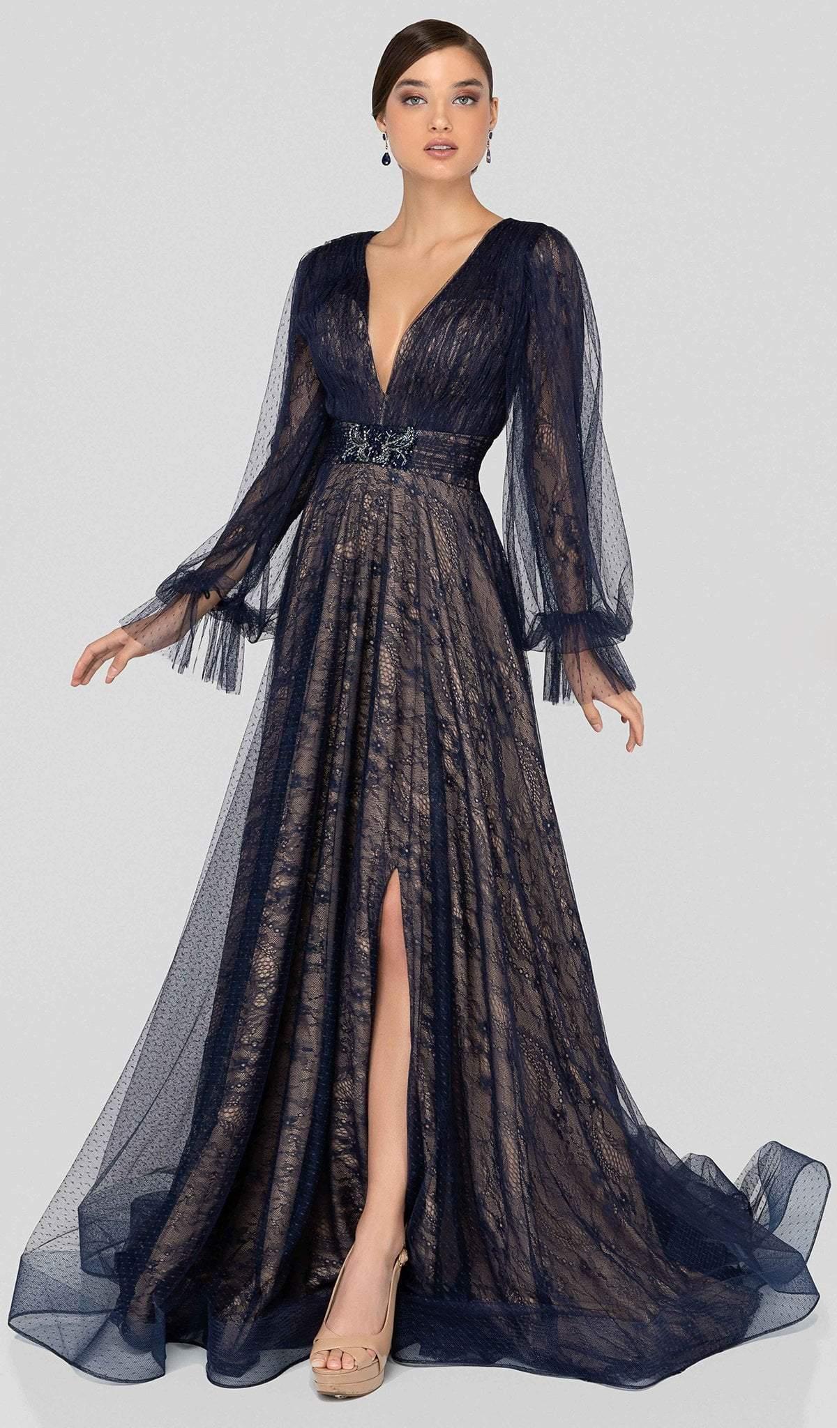 Terani Couture - 1913M9414 Lace Plunging V-neck A-line Dress