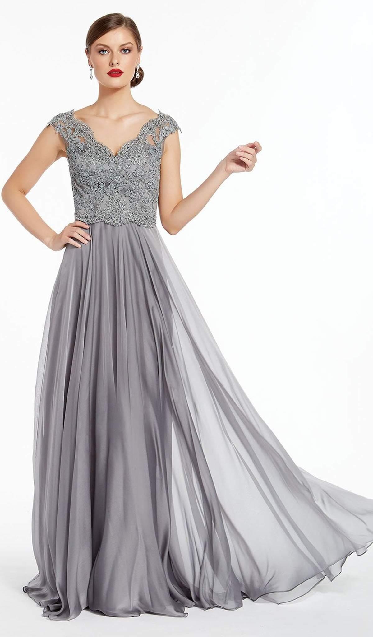 Alyce Paris - 27315 Cap Sleeve Scalloped V-Neck Chiffon Gown