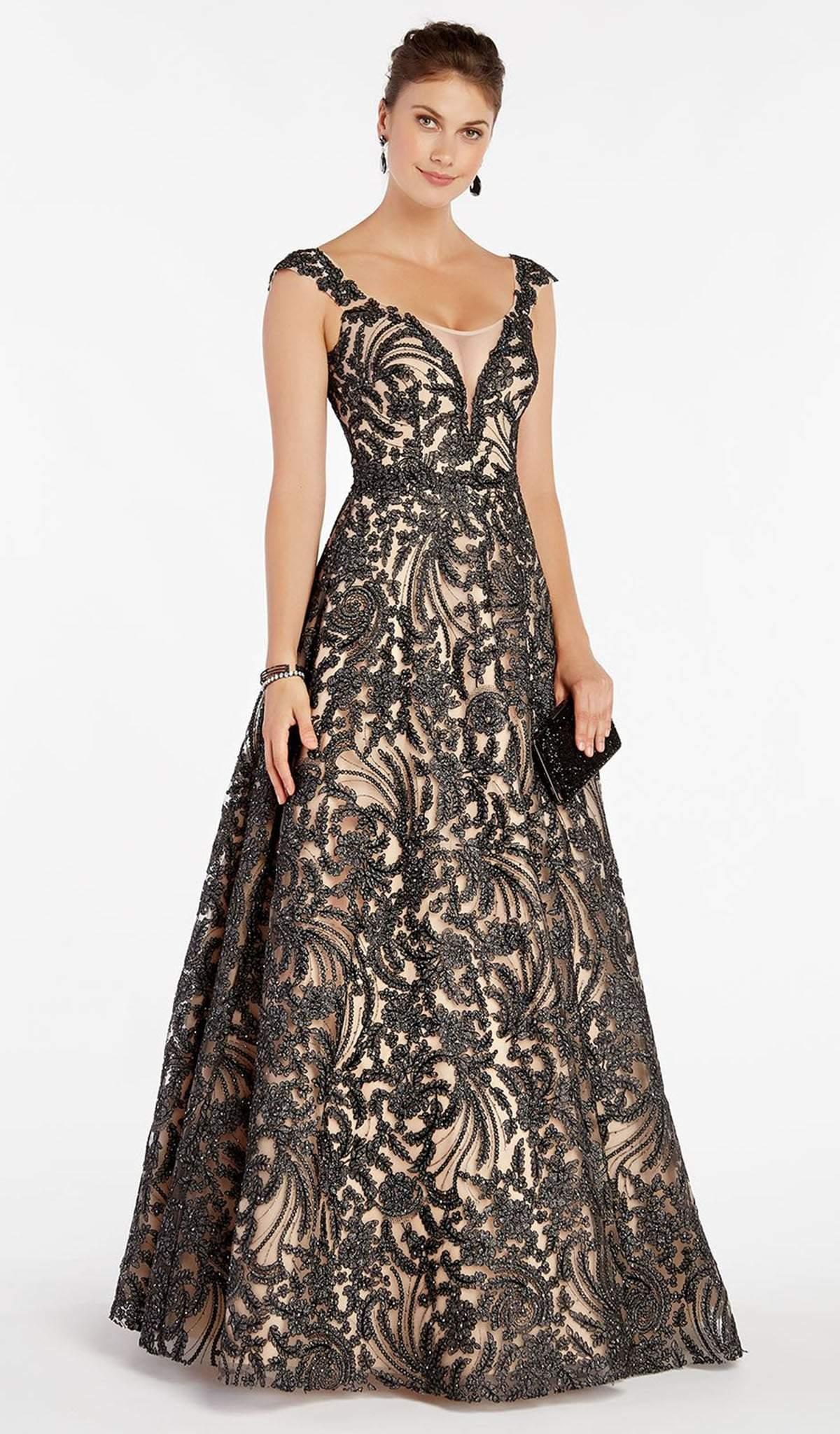 Alyce Paris - 5064 Cap Sleeve Foliage Motif A-Line Gown