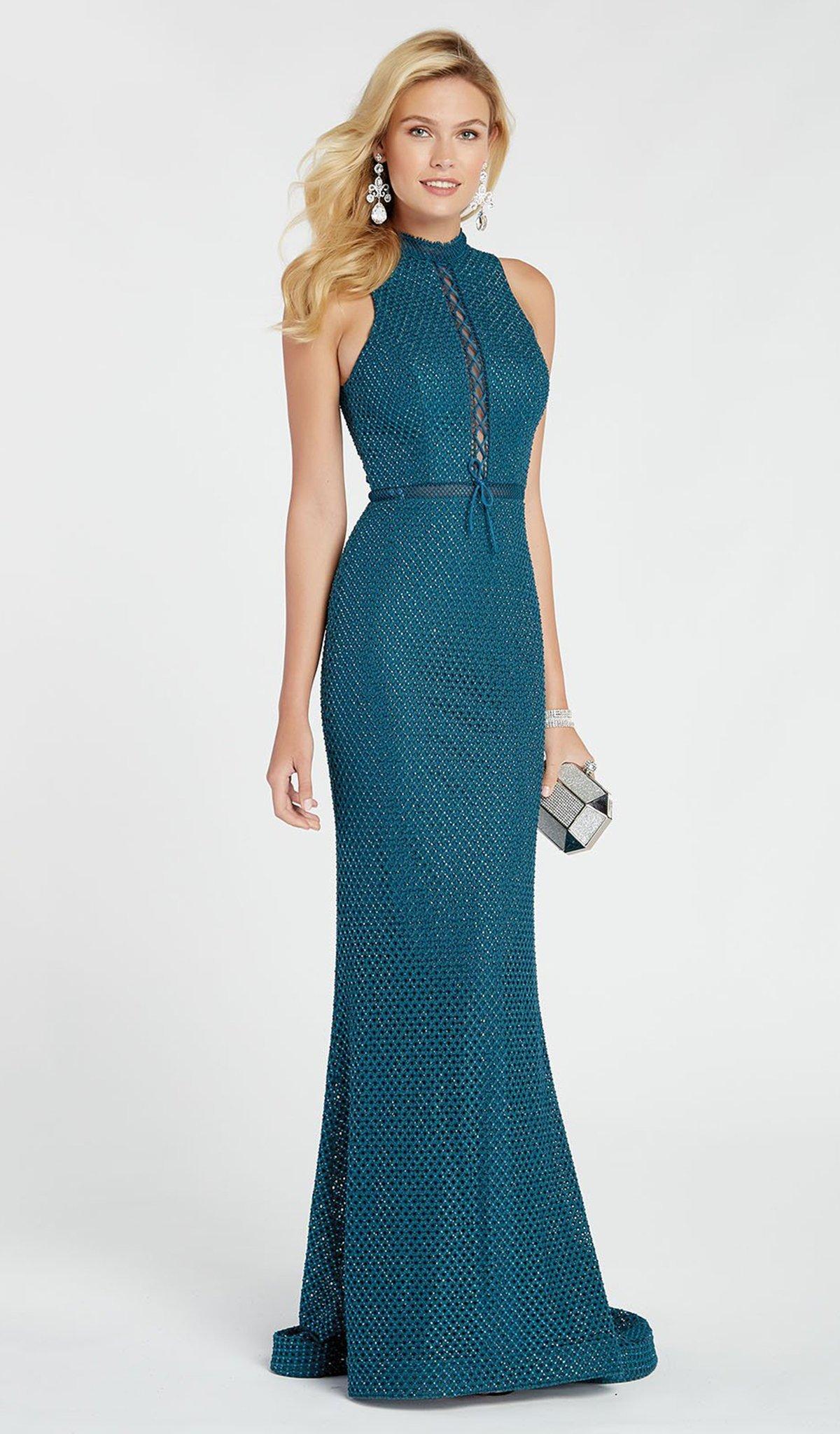 Alyce Paris - 60318 Diamond Lace High Halter Dress With Open Back