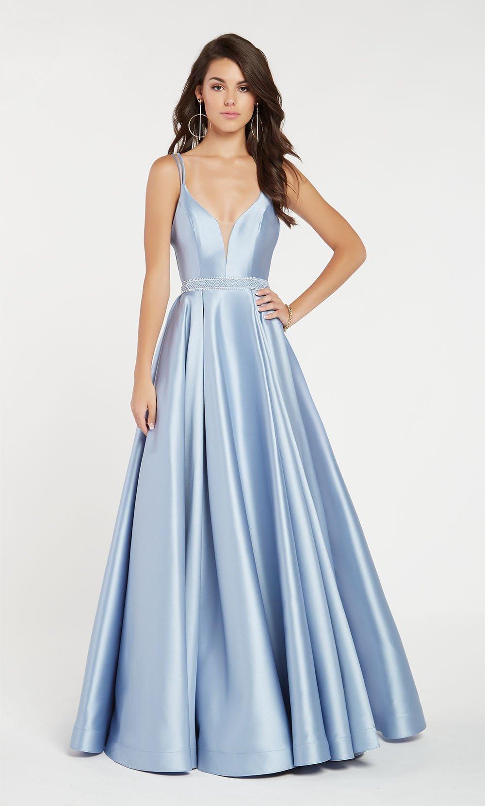 Alyce Paris - 60345 Sleeveless Low V Neck Illusion Mikado A-Line Gown
