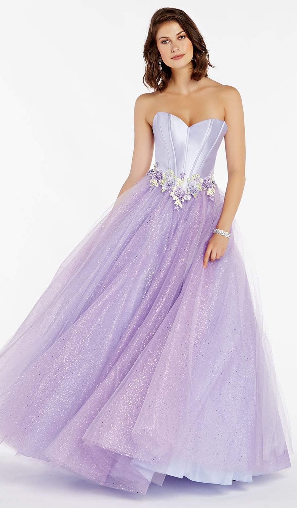 Alyce Paris - 60363 Mikado Sweetheart Floral Applique Tulle Ballgown