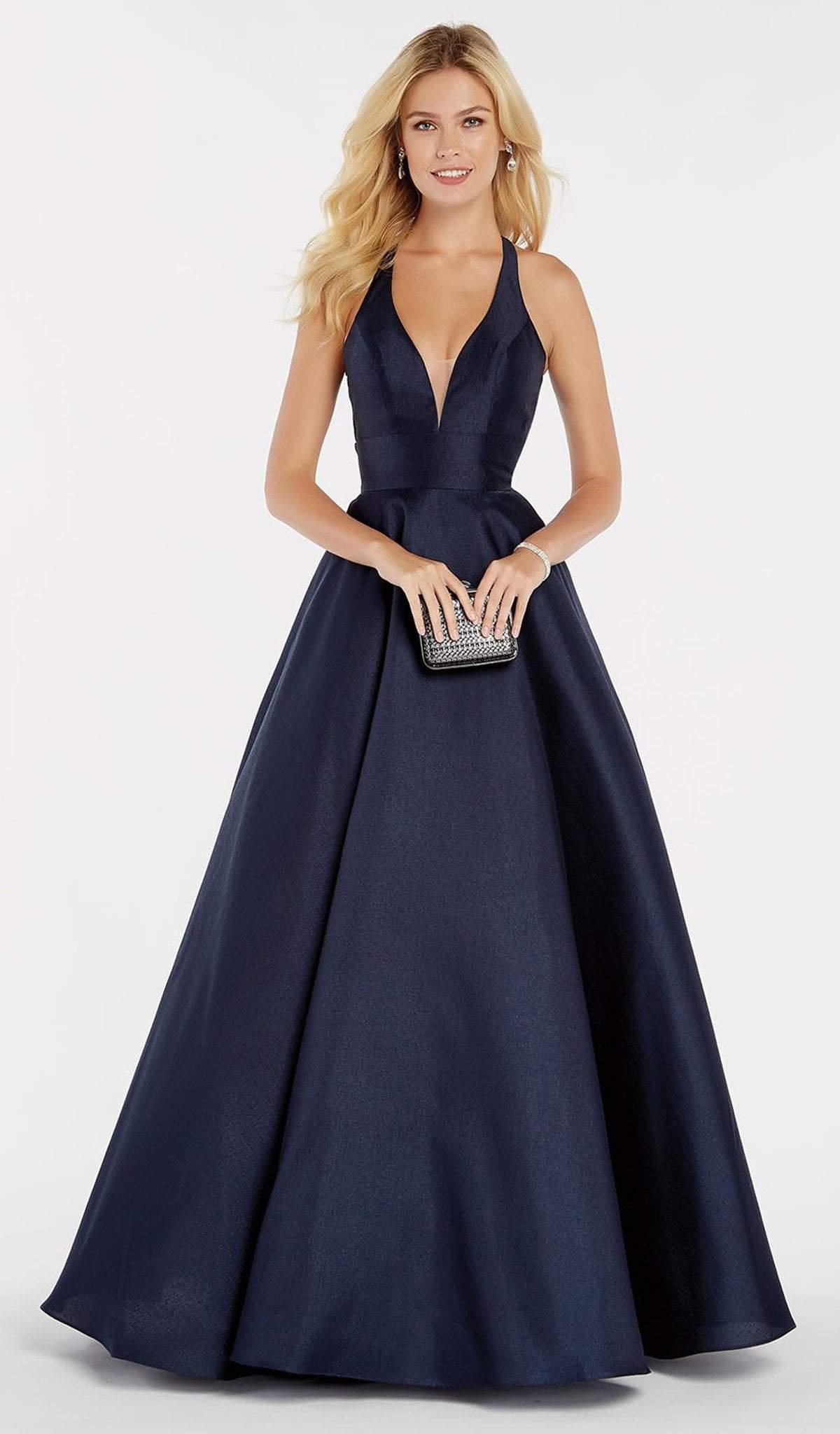 Alyce Paris - 60393 Halter Neck Vibrant Shantung A-Line Prom Dress
