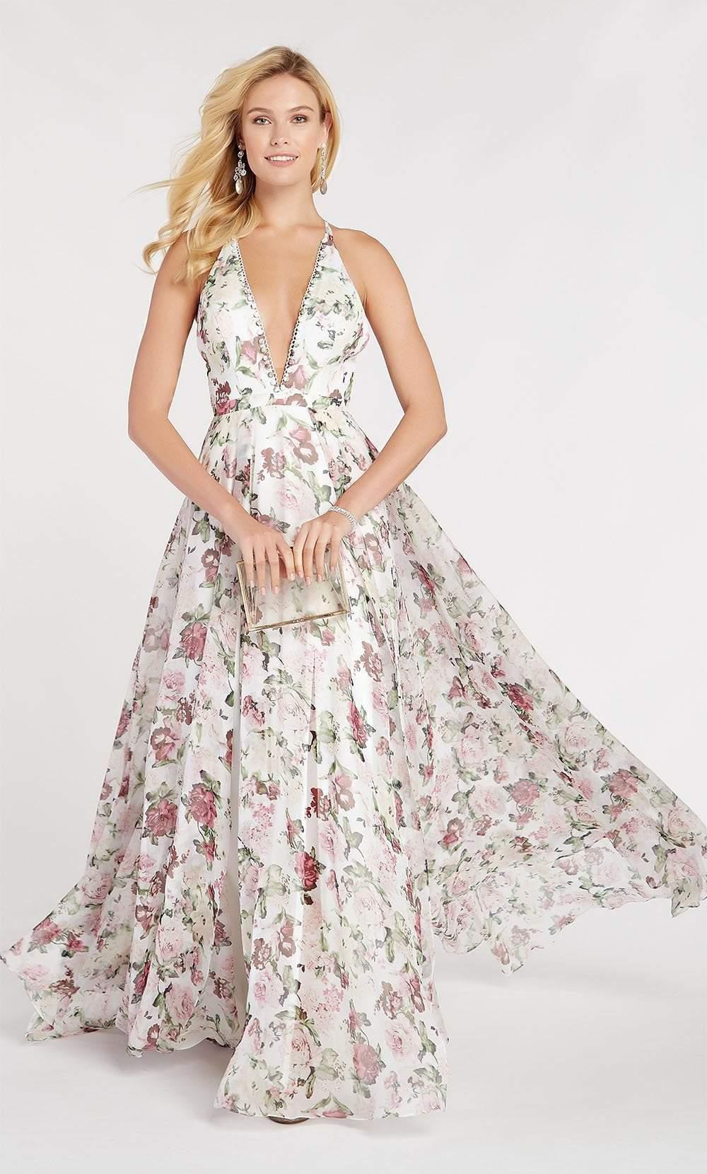 Alyce Paris - 60439 Floral Print Plunging Halter A-Line Gown