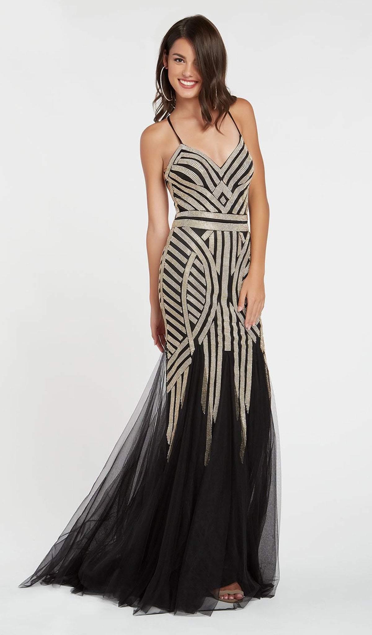 Alyce Paris - 60520 Geometric Beaded Trumpet Godet Gown