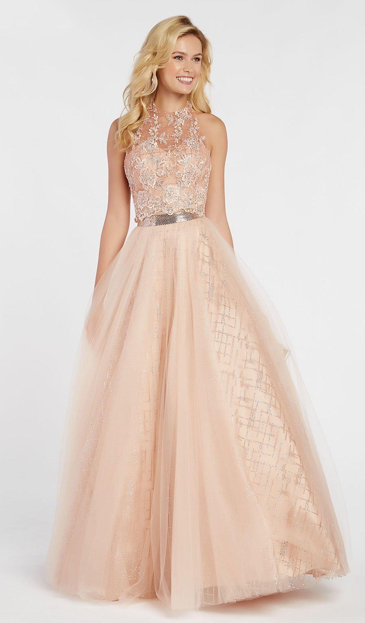 Alyce Paris - 60561 Floral Appliqued Illusion Halter A-Line Gown
