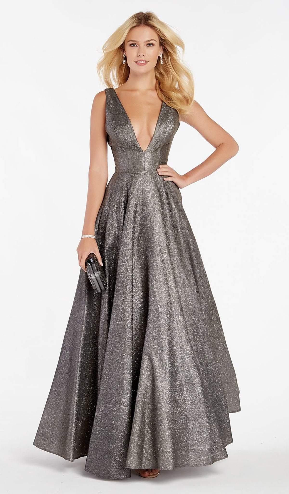Alyce Paris - 60563 Sexy Plunging V Neckline Shimmering Taffeta Gown