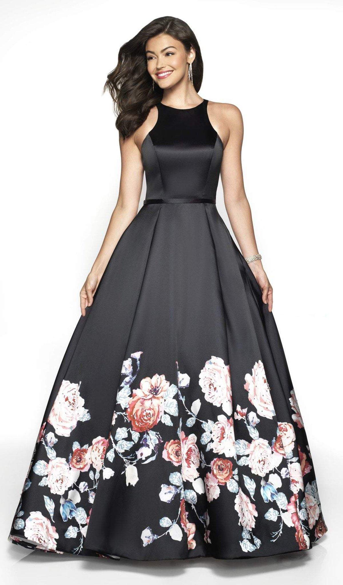 Blush by Alexia Designs - 11136Z Floral Print Mikado Ballgown