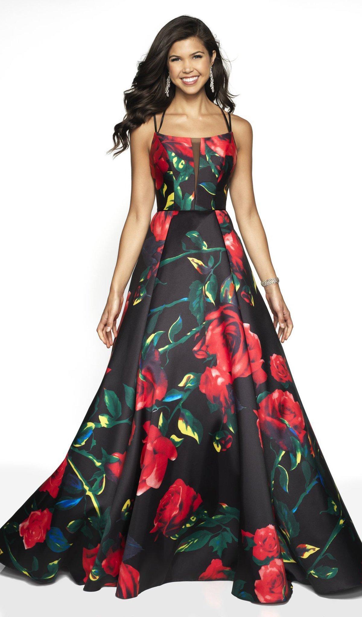 Blush by Alexia Designs - 11785 Floral Print Strappy Dress