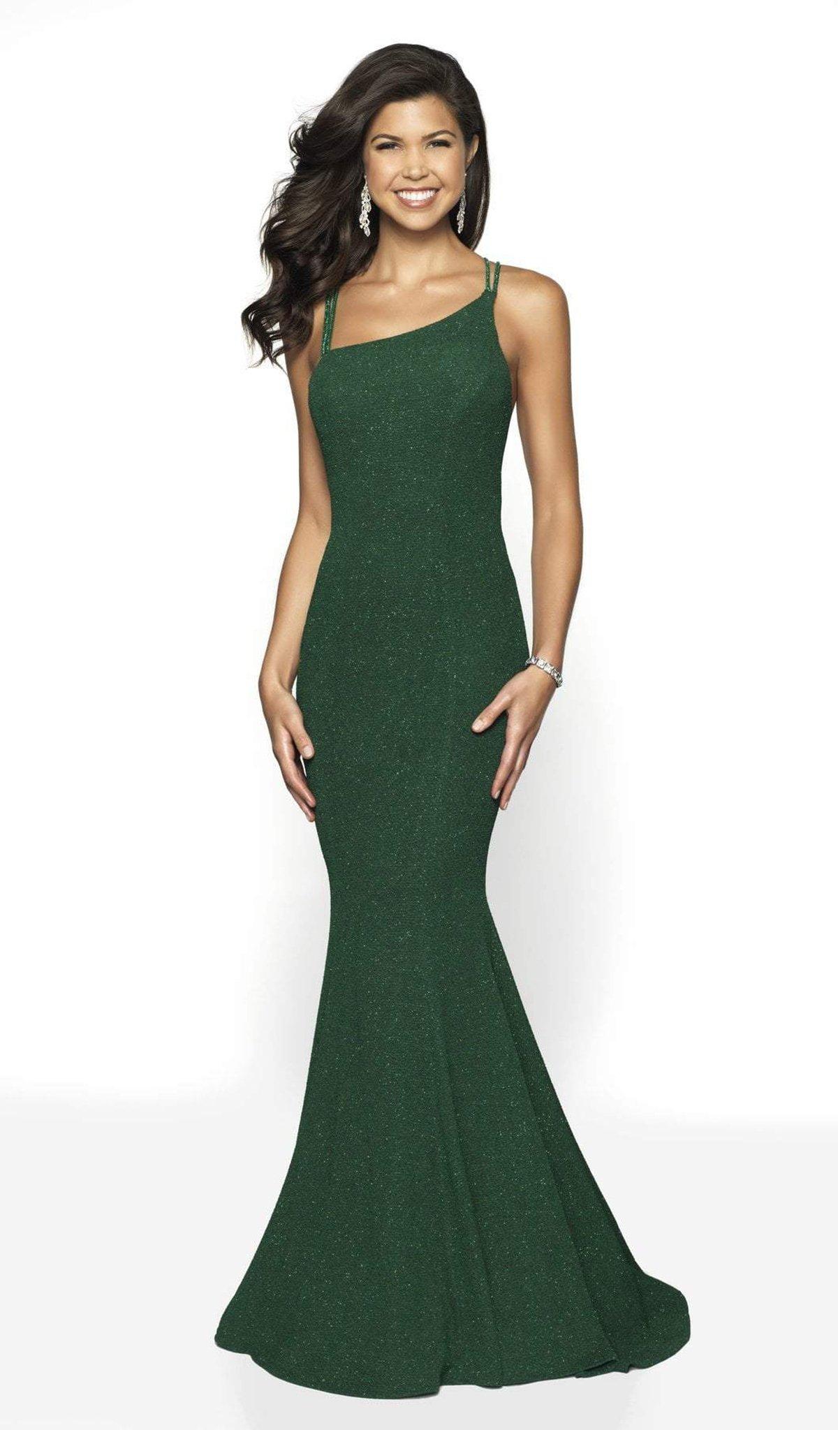 Blush by Alexia Designs - 11786 Asymmetric Glitter Knit Mermaid Dress