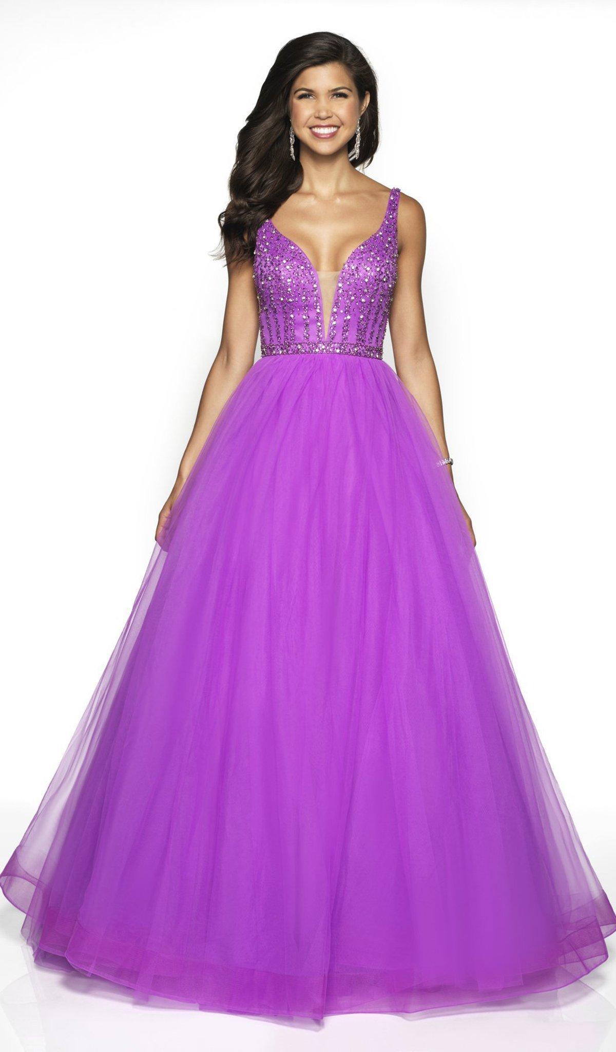 Blush by Alexia Designs - 5707 Beaded Deep V-neck Tulle Ballgown