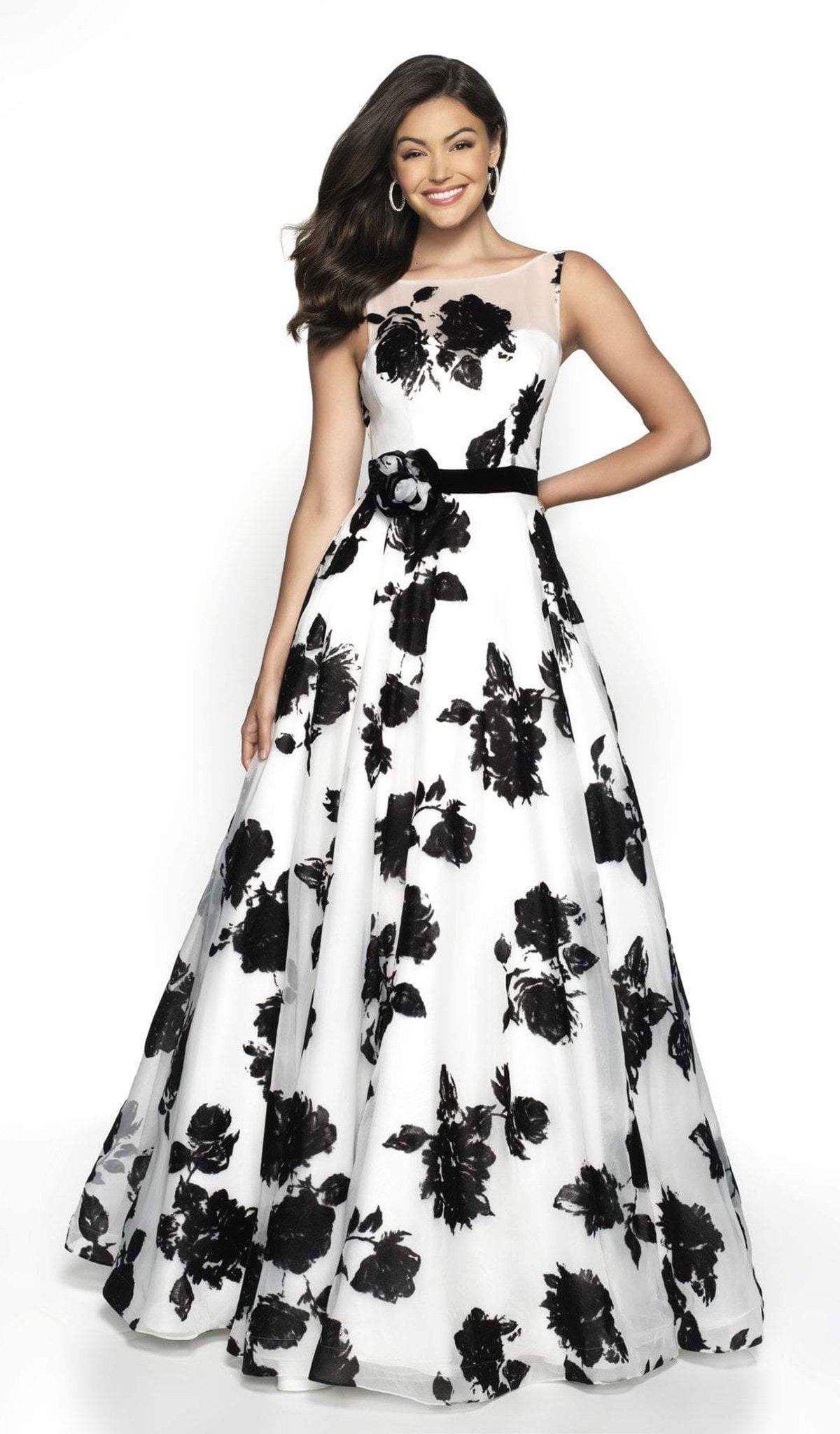 Blush by Alexia Designs - 5722 Illusion Bateau Floral Dress