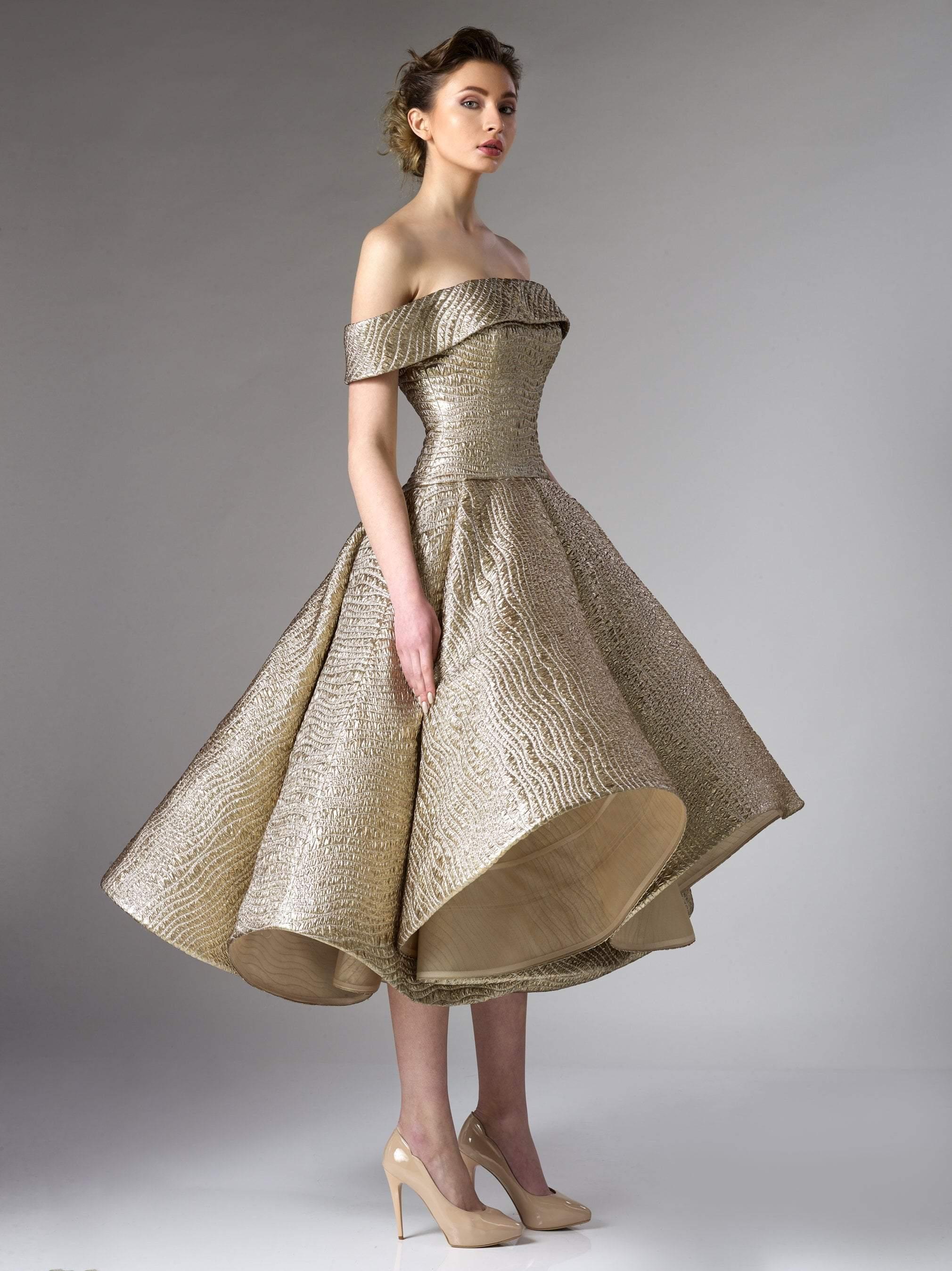 Edward Arsouni Couture - 281 Brocade A-line Dress In Copper