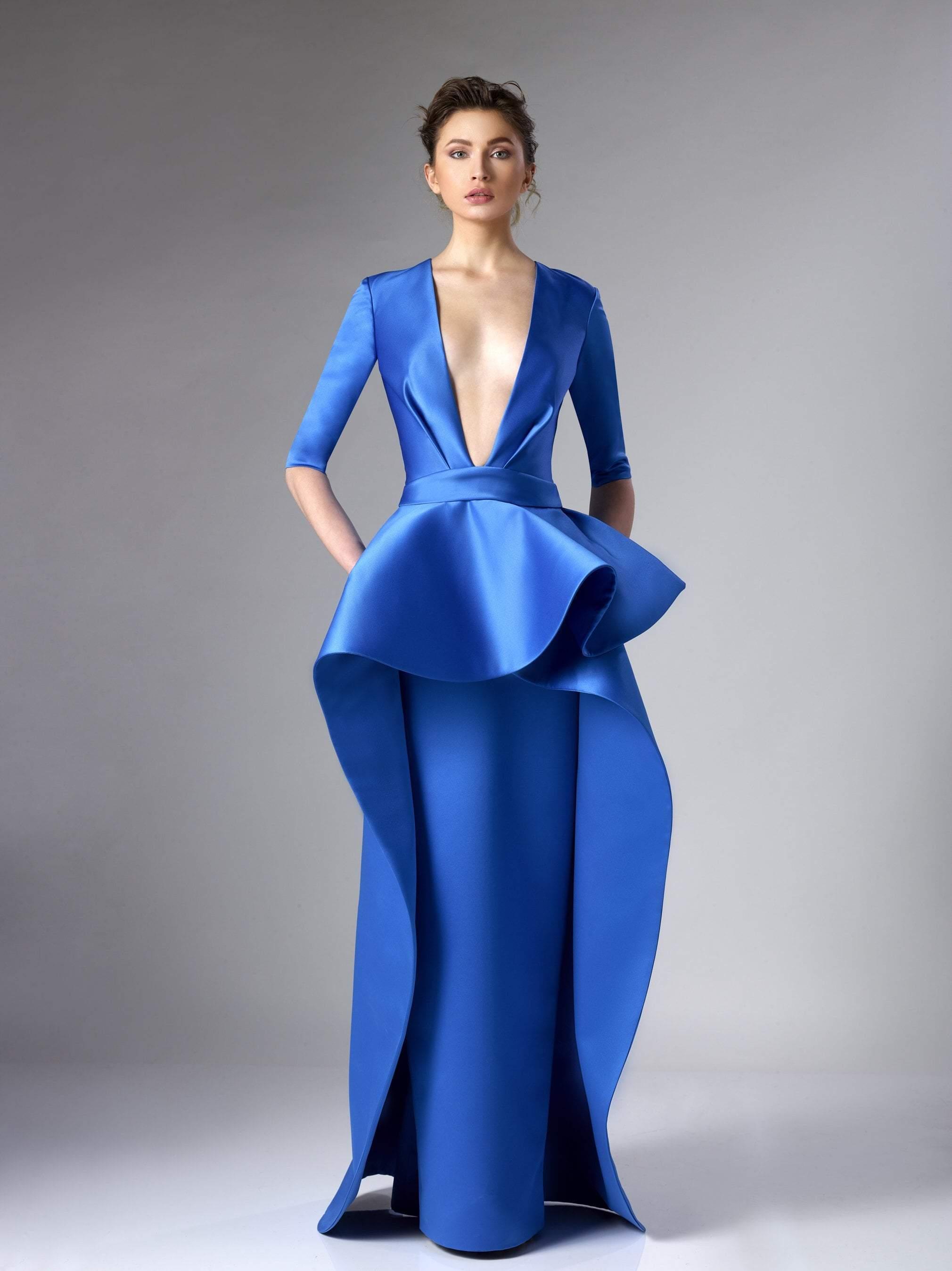 Edward Arsouni Couture - 285 Deep V-neck Satin Dress In Blue