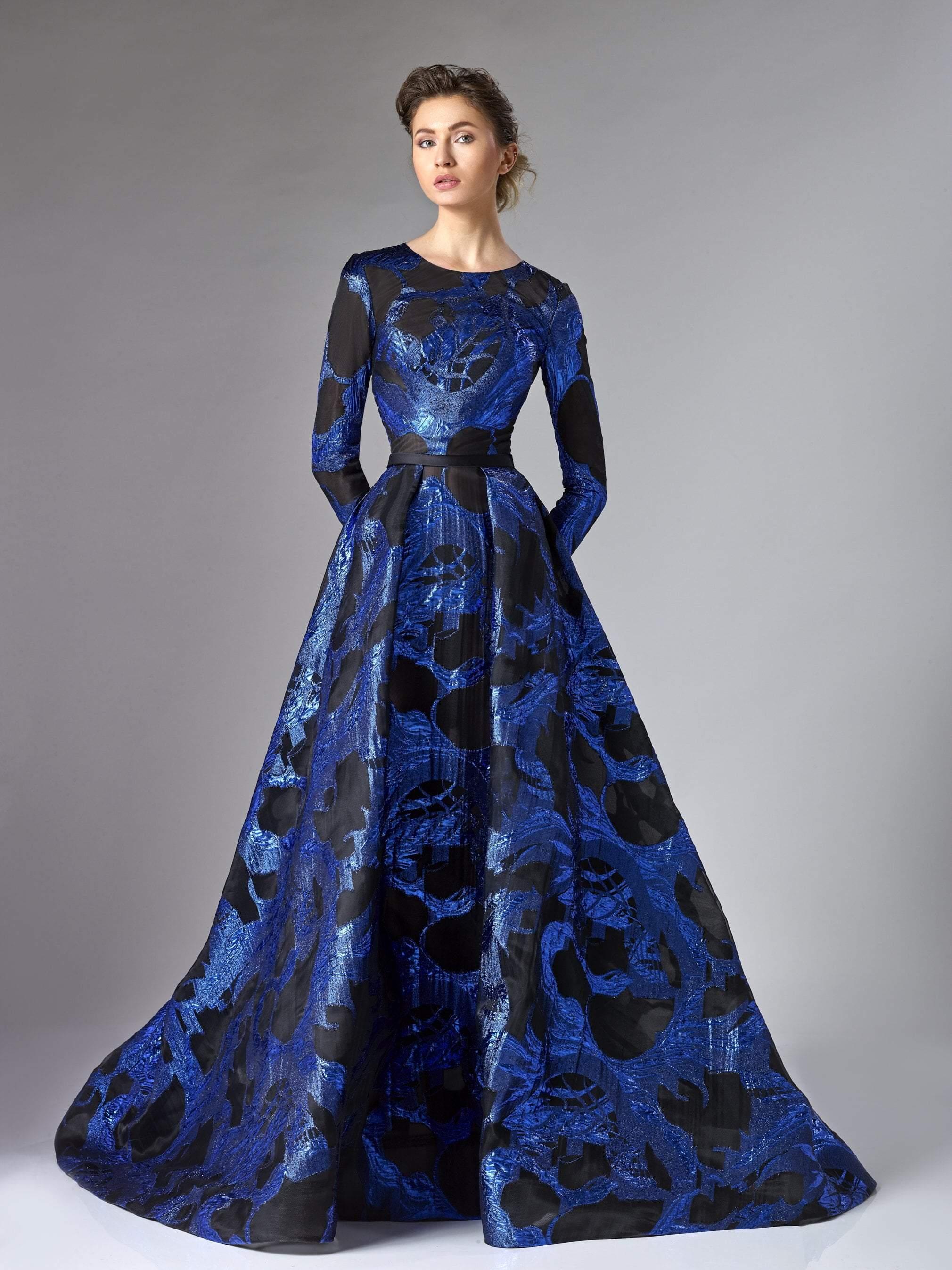 Edward Arsouni Couture - 286 Organza A-line Dress In Blue Black