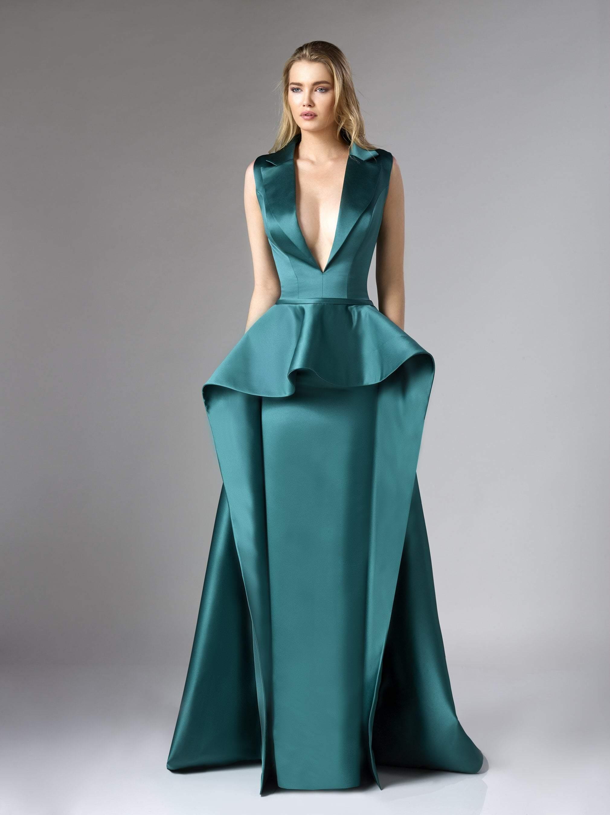 Edward Arsouni Couture - 310 Deep V-neck Satin Dress in Emerald Green