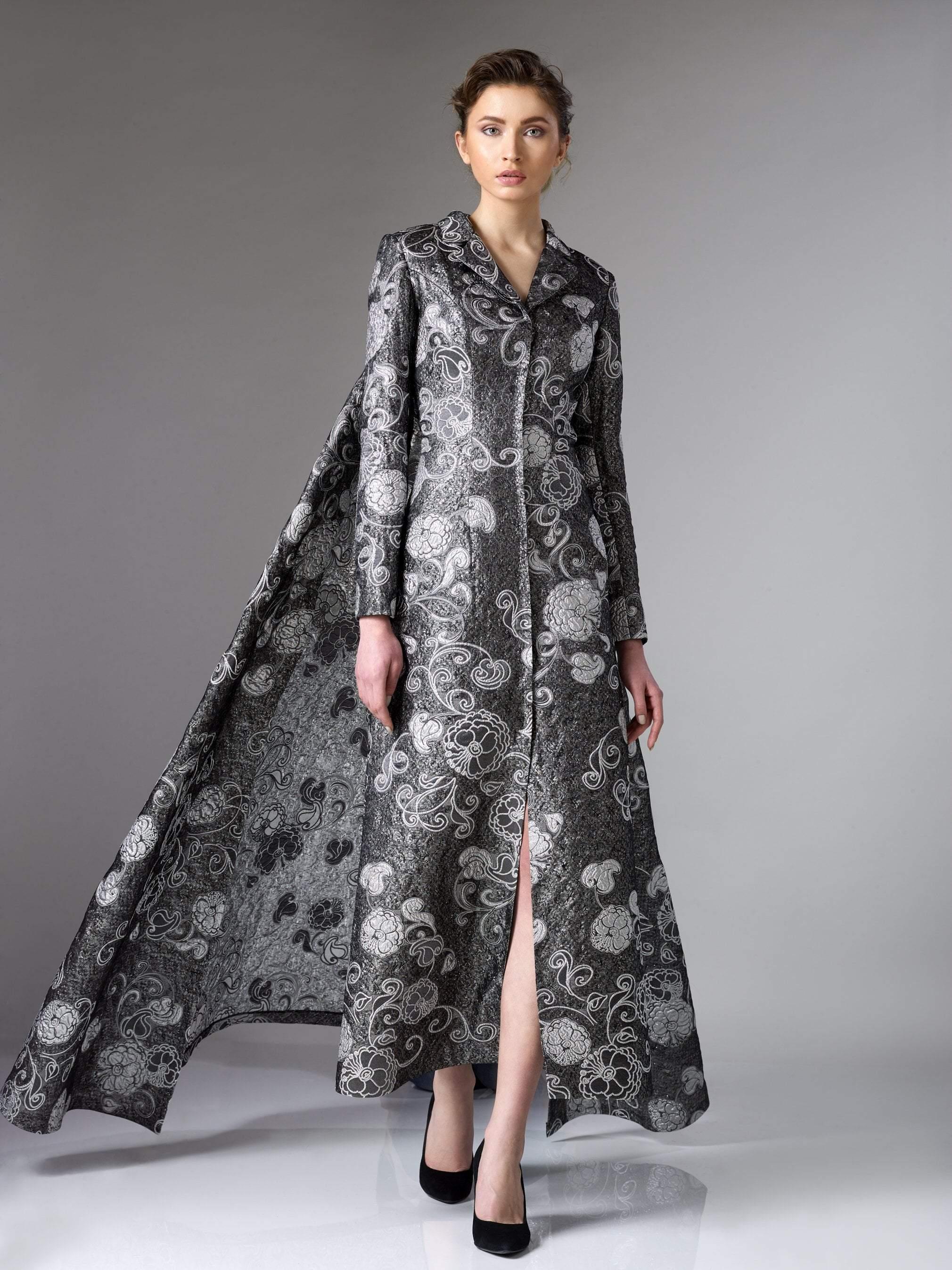 Edward Arsouni Couture - 316 Organza A-line Dress in Silver Black