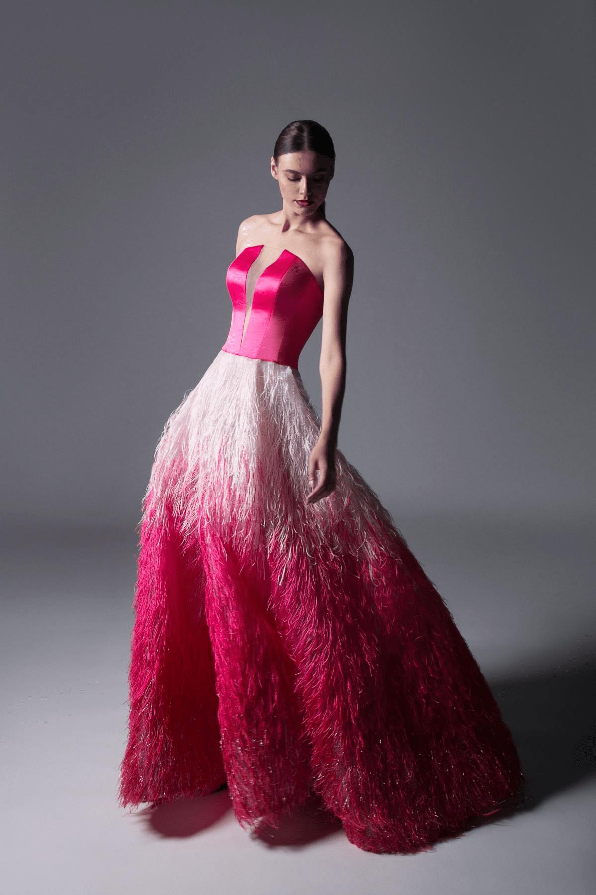 Edward Arsouni Couture - 340 Fringe Feathered Ballgown In Fuchsia