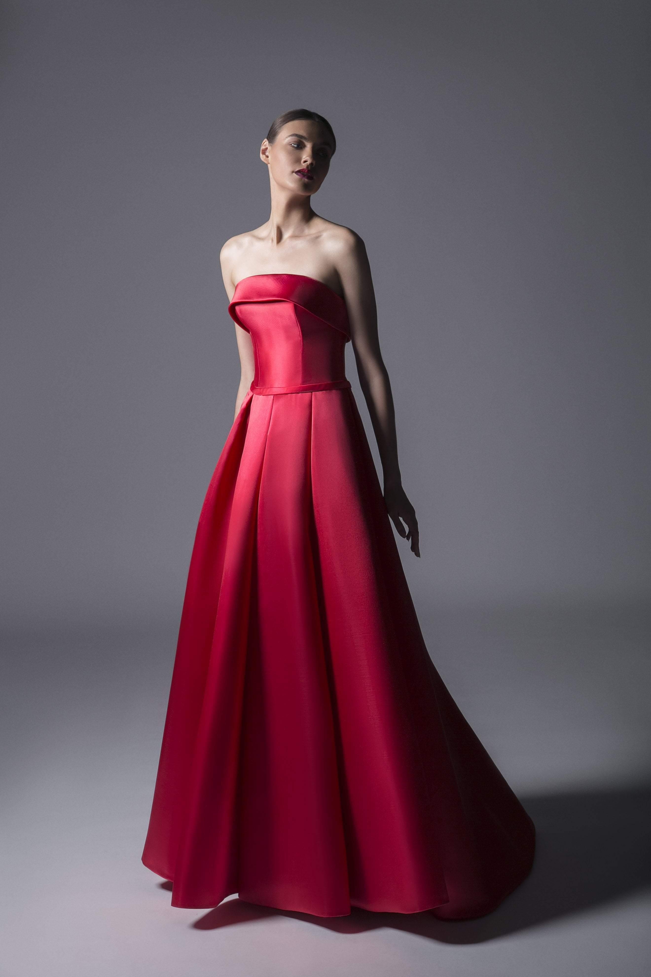 Edward Arsouni Couture - 349 Strapless Mikado Dress In Red