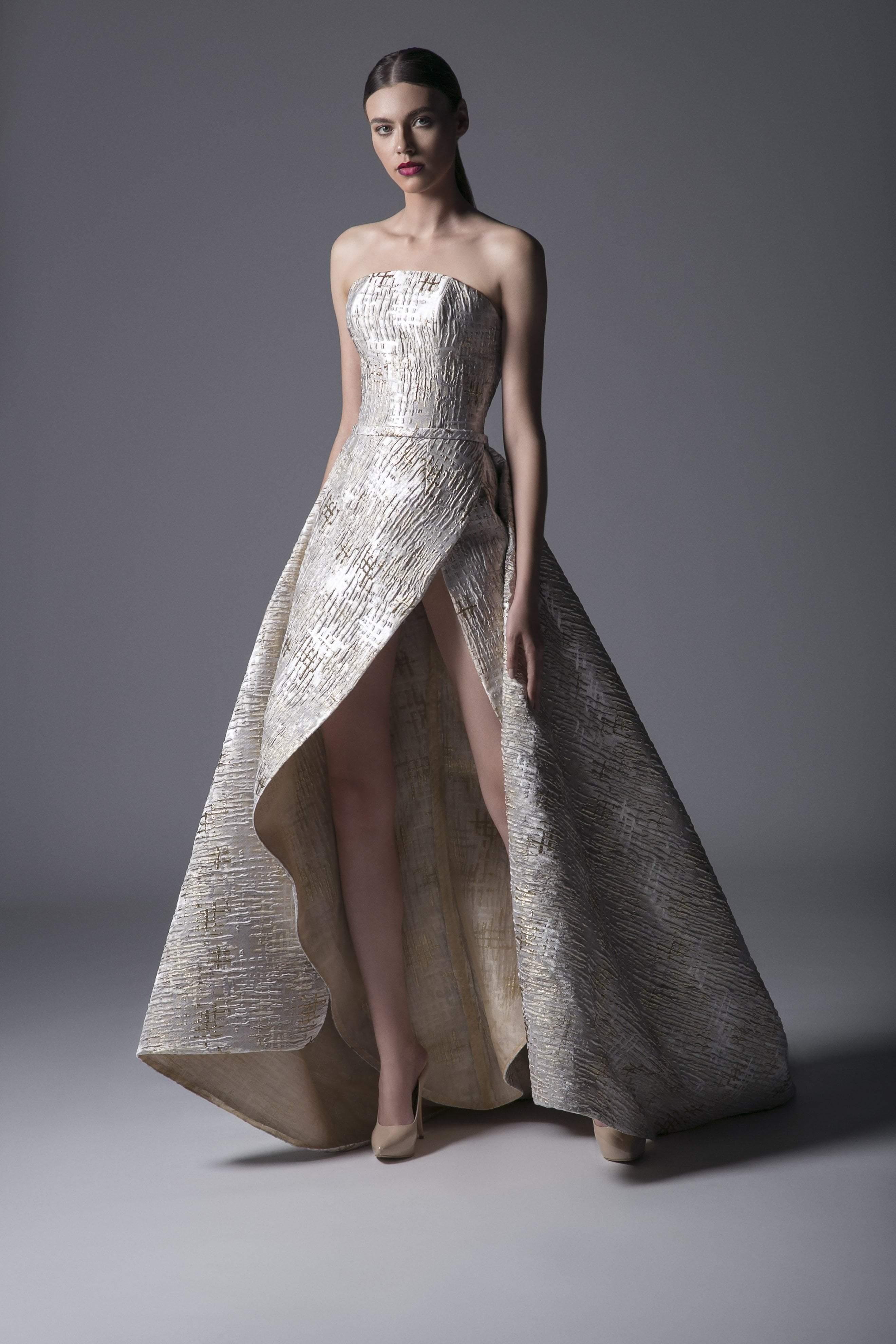 Edward Arsouni Couture - 367 Surplice Metallic Gown In Ecru Gold