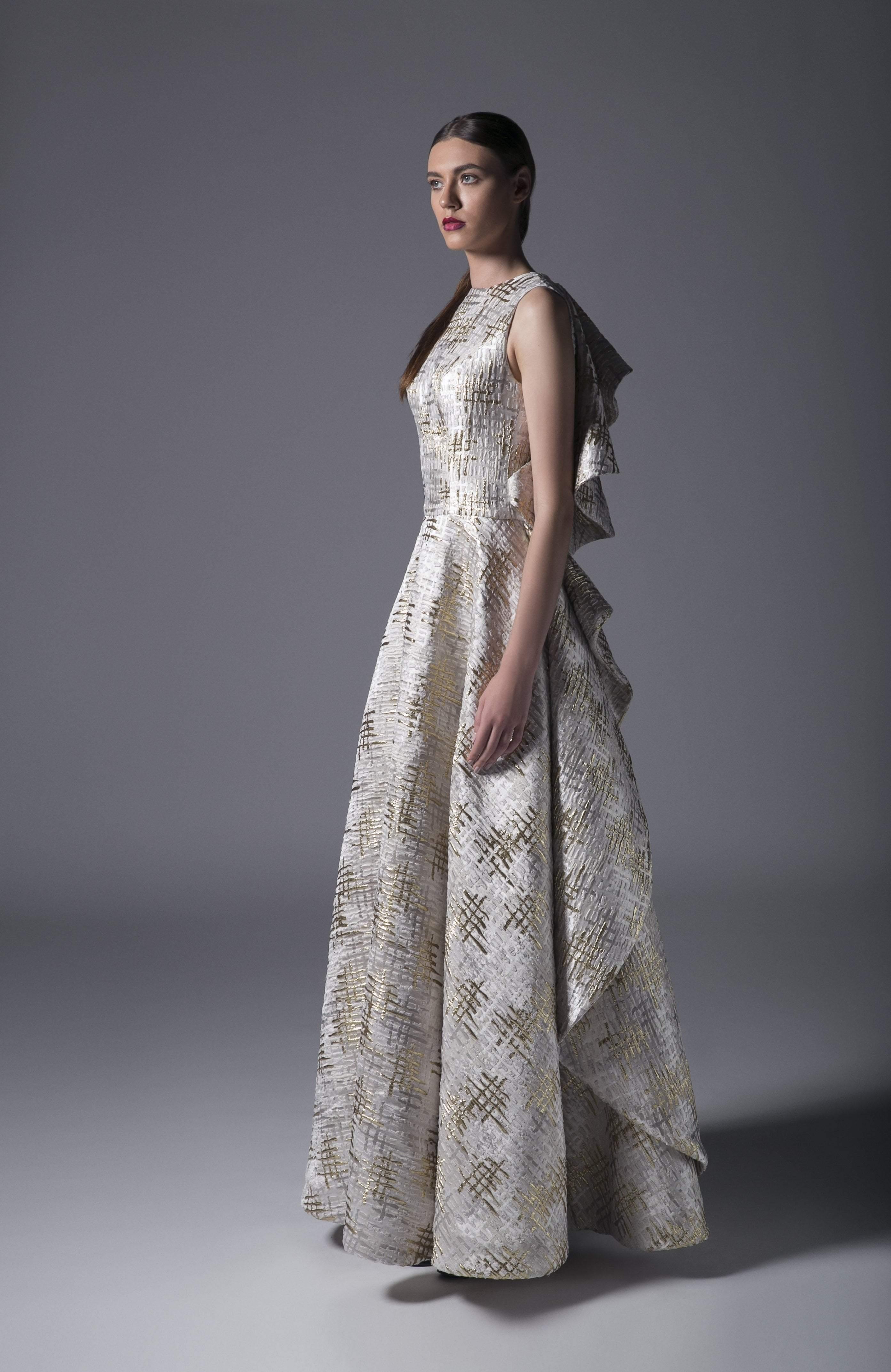 Edward Arsouni Couture - 370 Metallic Ruffled Gown In Ecru Gold