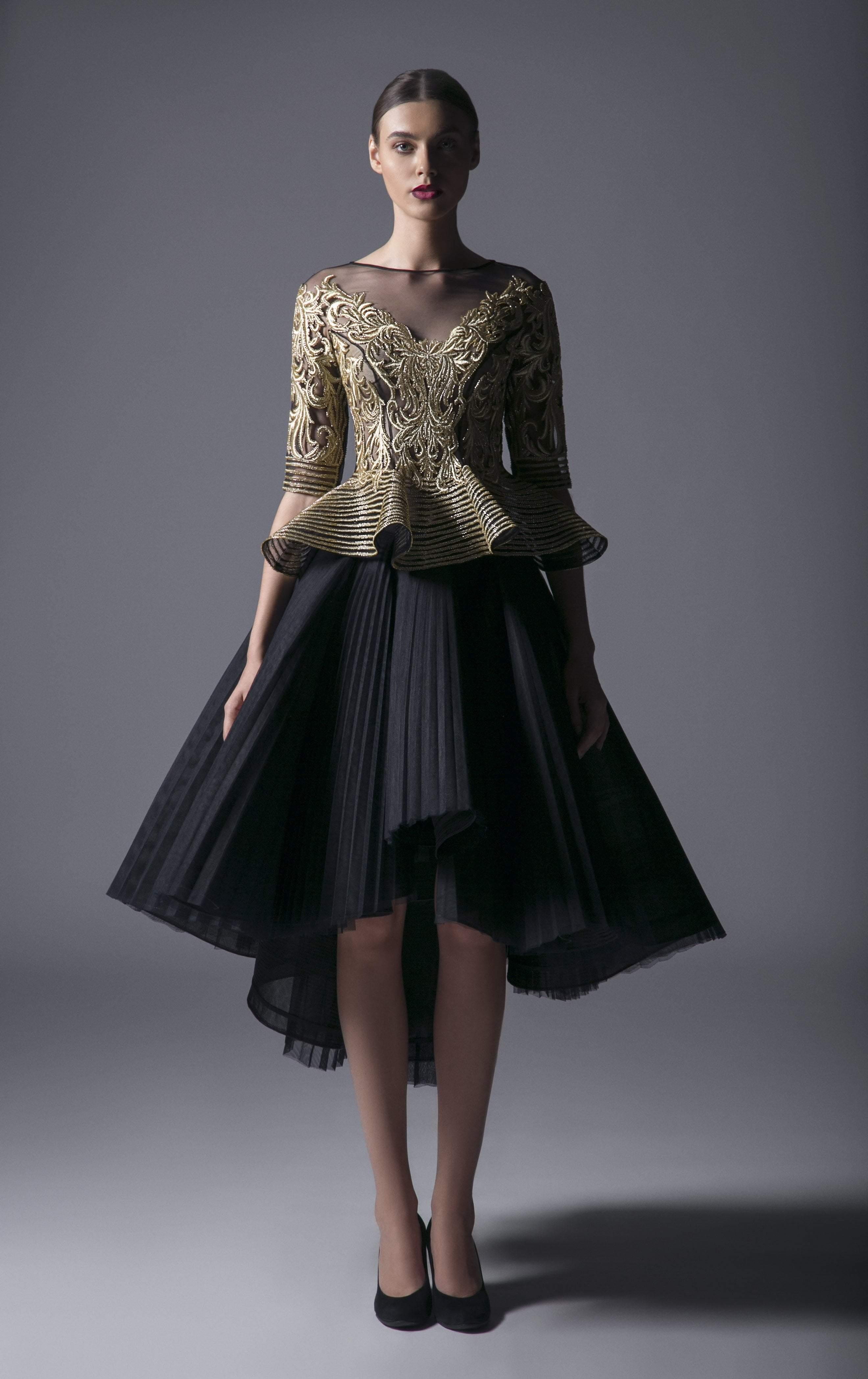 Edward Arsouni Couture - 379 Illusion Jewel Peplum Dress In Black Gold