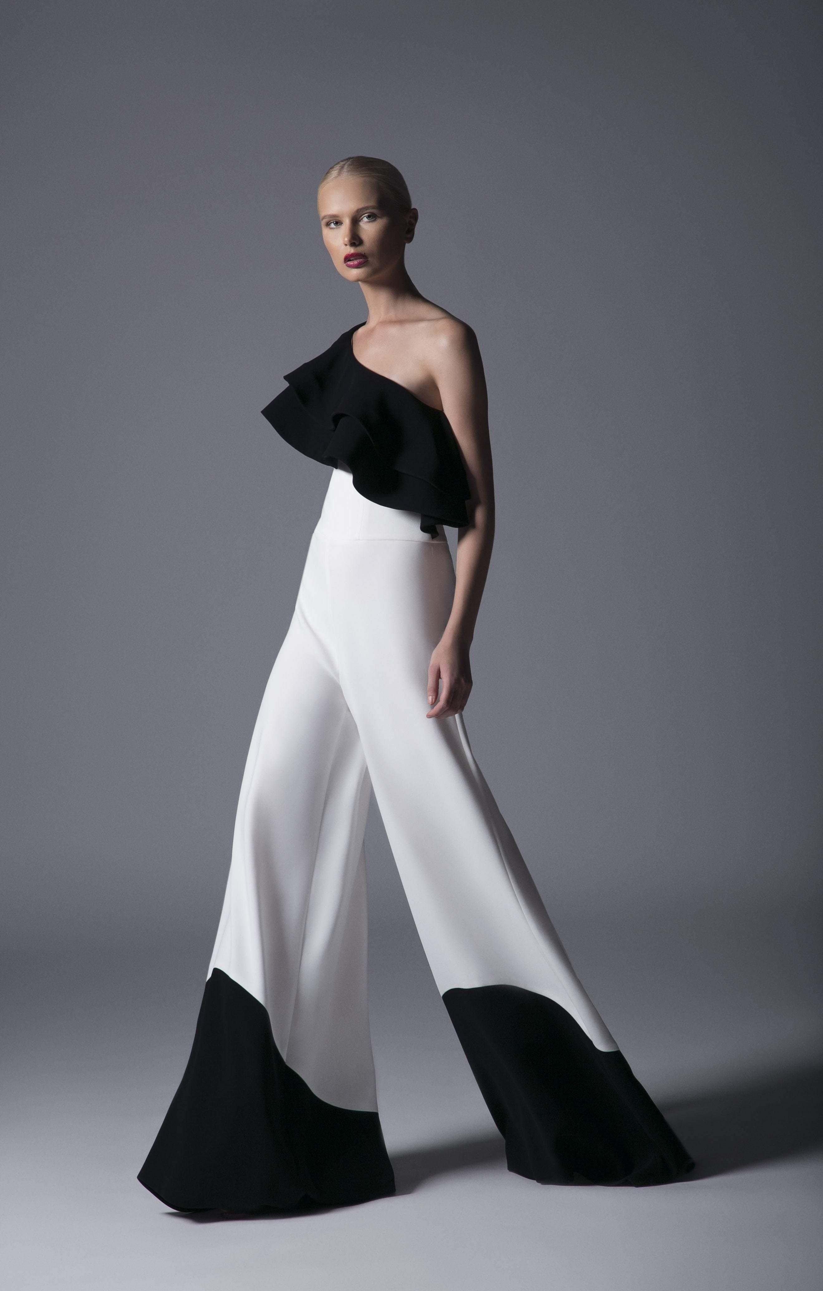 Edward Arsouni Couture - 385 Asymmetrical Jumpsuit In Black White
